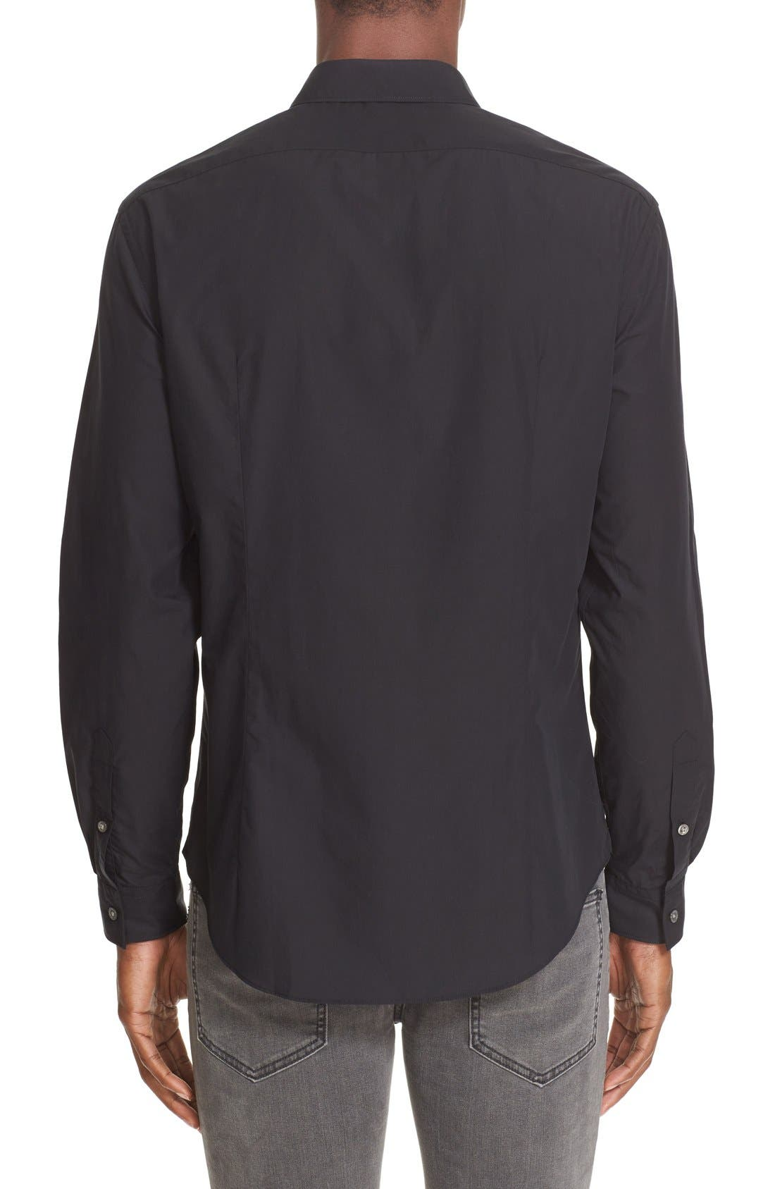Slim Fit Sport Shirt,                             Alternate thumbnail 3, color,                             BLACK
