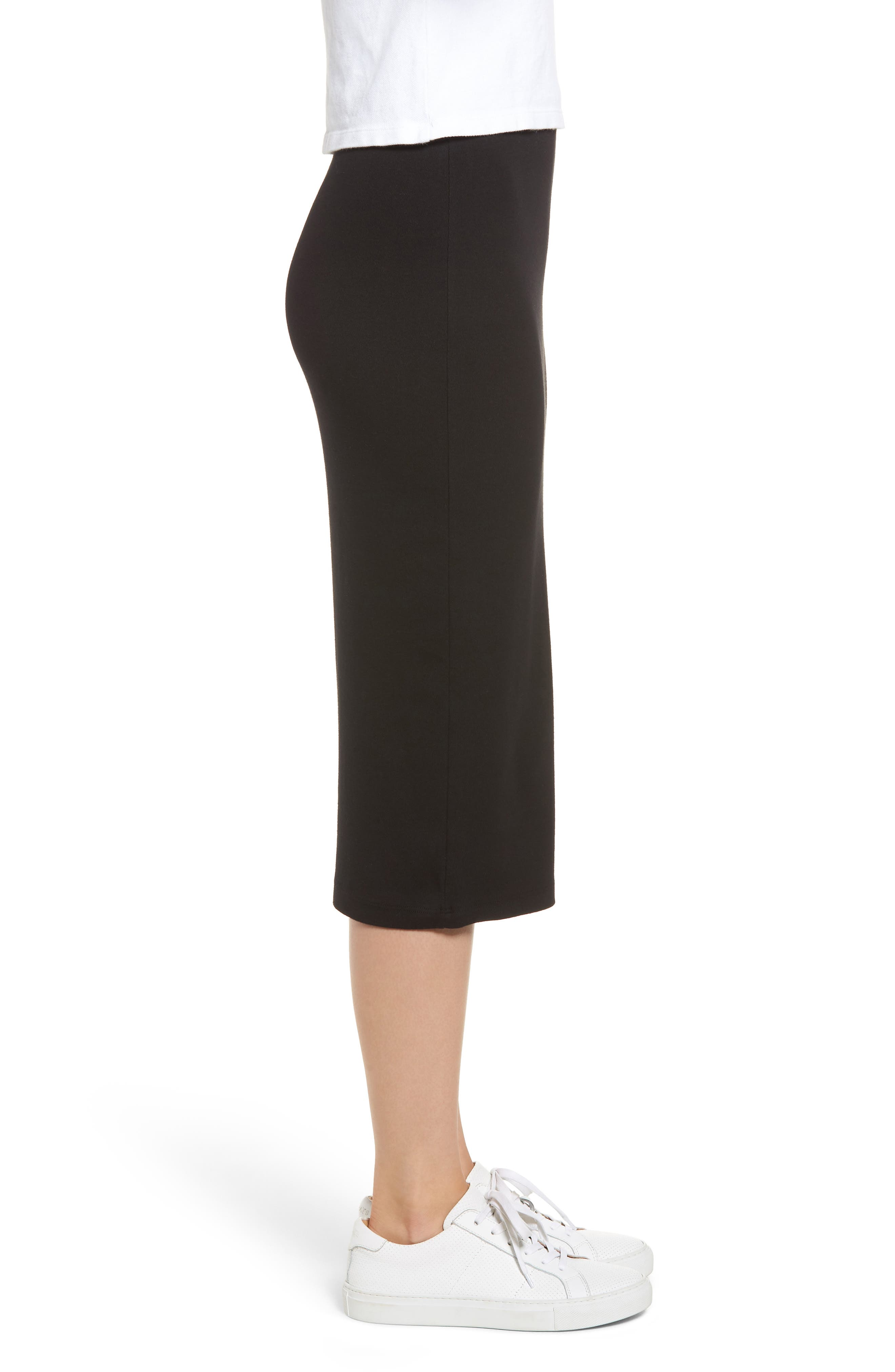 Stretch Cotton Midi Skirt,                             Alternate thumbnail 3, color,                             001
