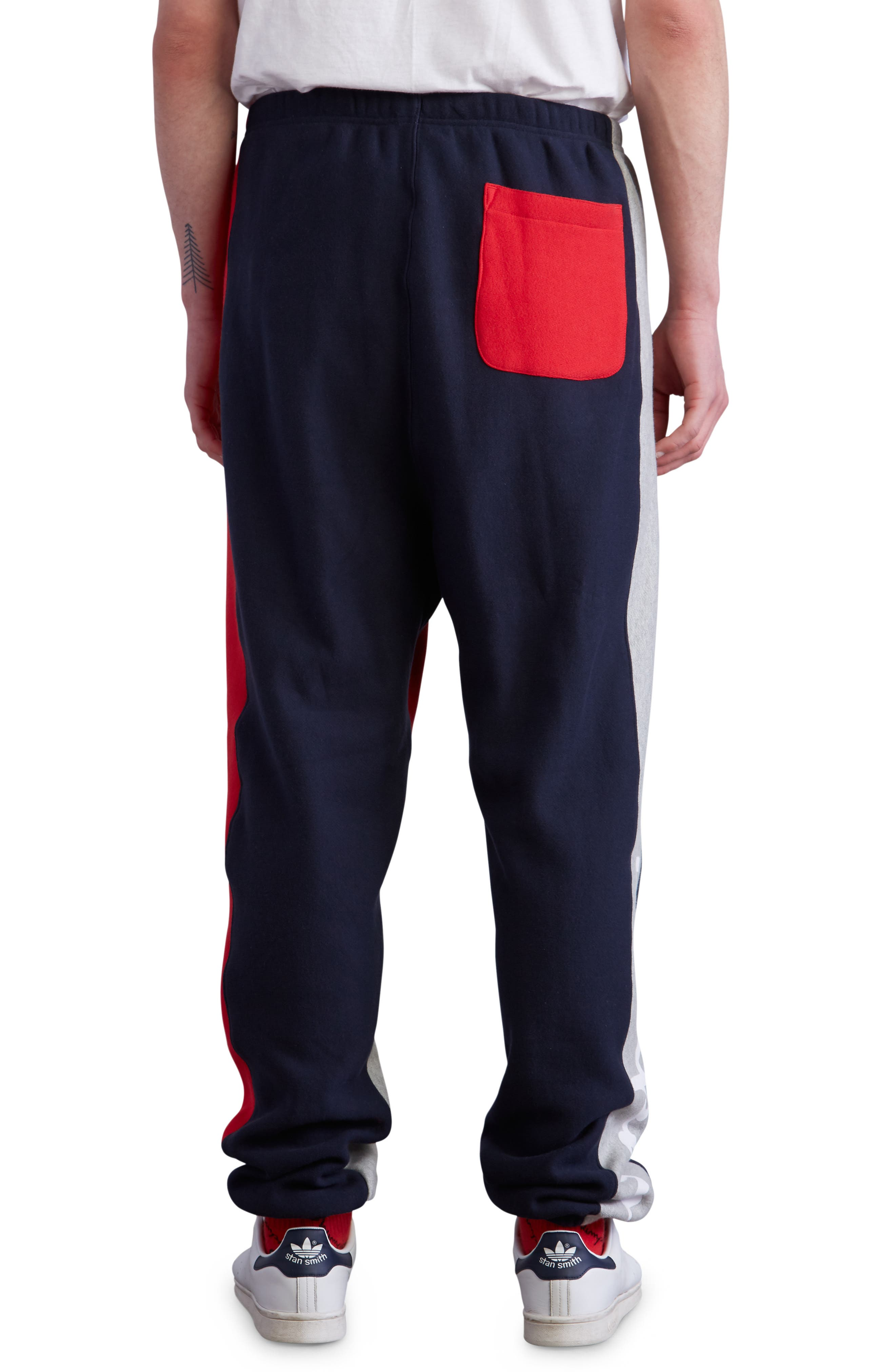Colorblock Sweatpants,                             Alternate thumbnail 2, color,                             NAVY/ OXFORD GREY/ SCARLET