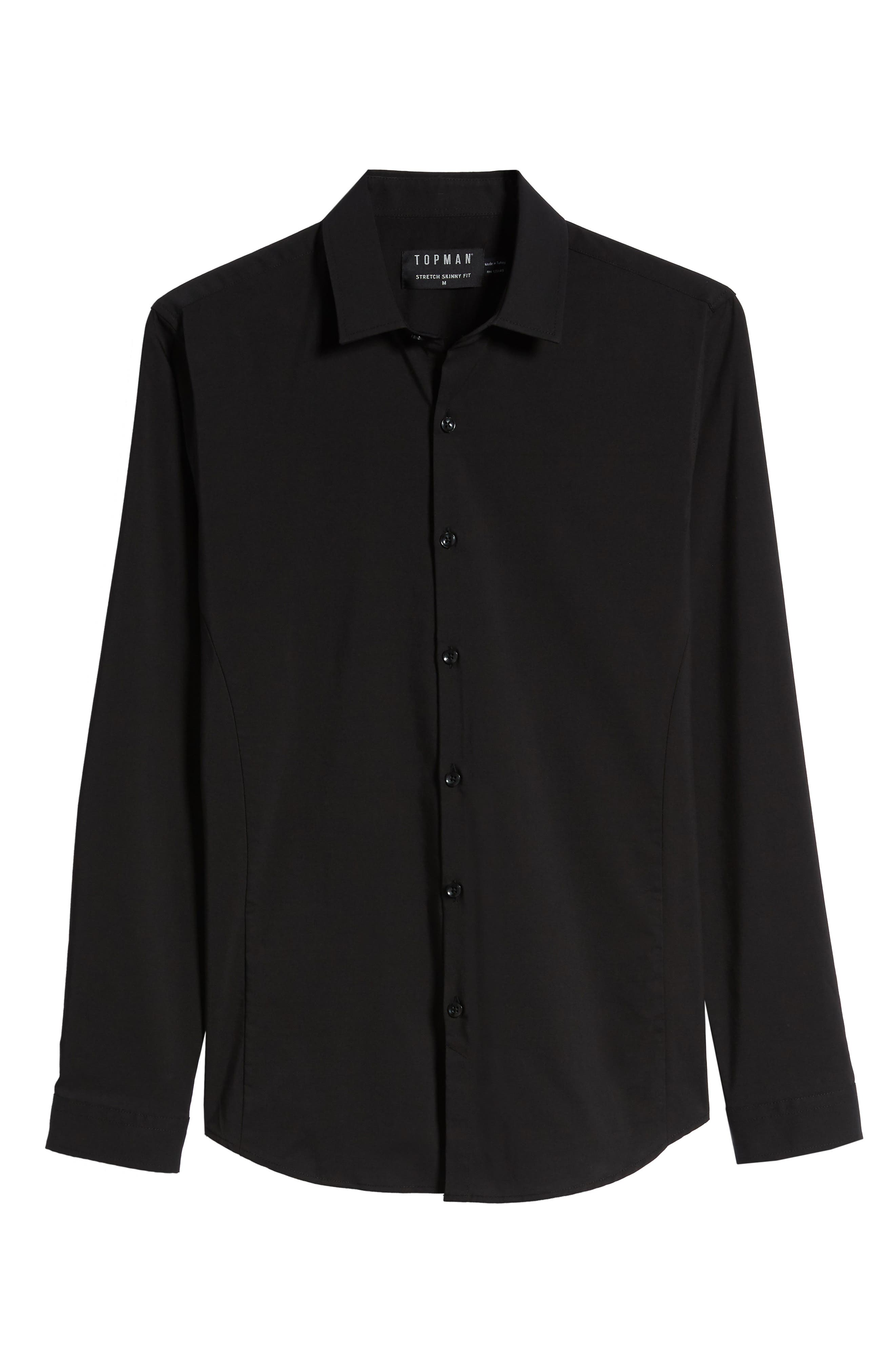 Stretch Woven Shirt,                             Alternate thumbnail 5, color,                             BLACK