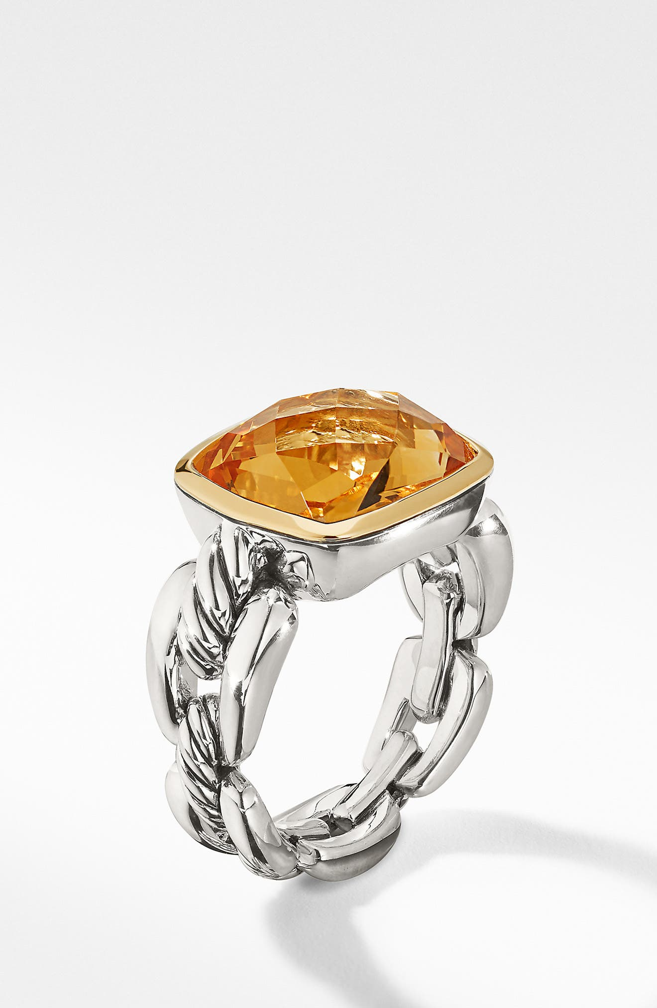 Wellesley Link Statement Ring with 18K Gold,                         Main,                         color, SILVER/ CITRINE