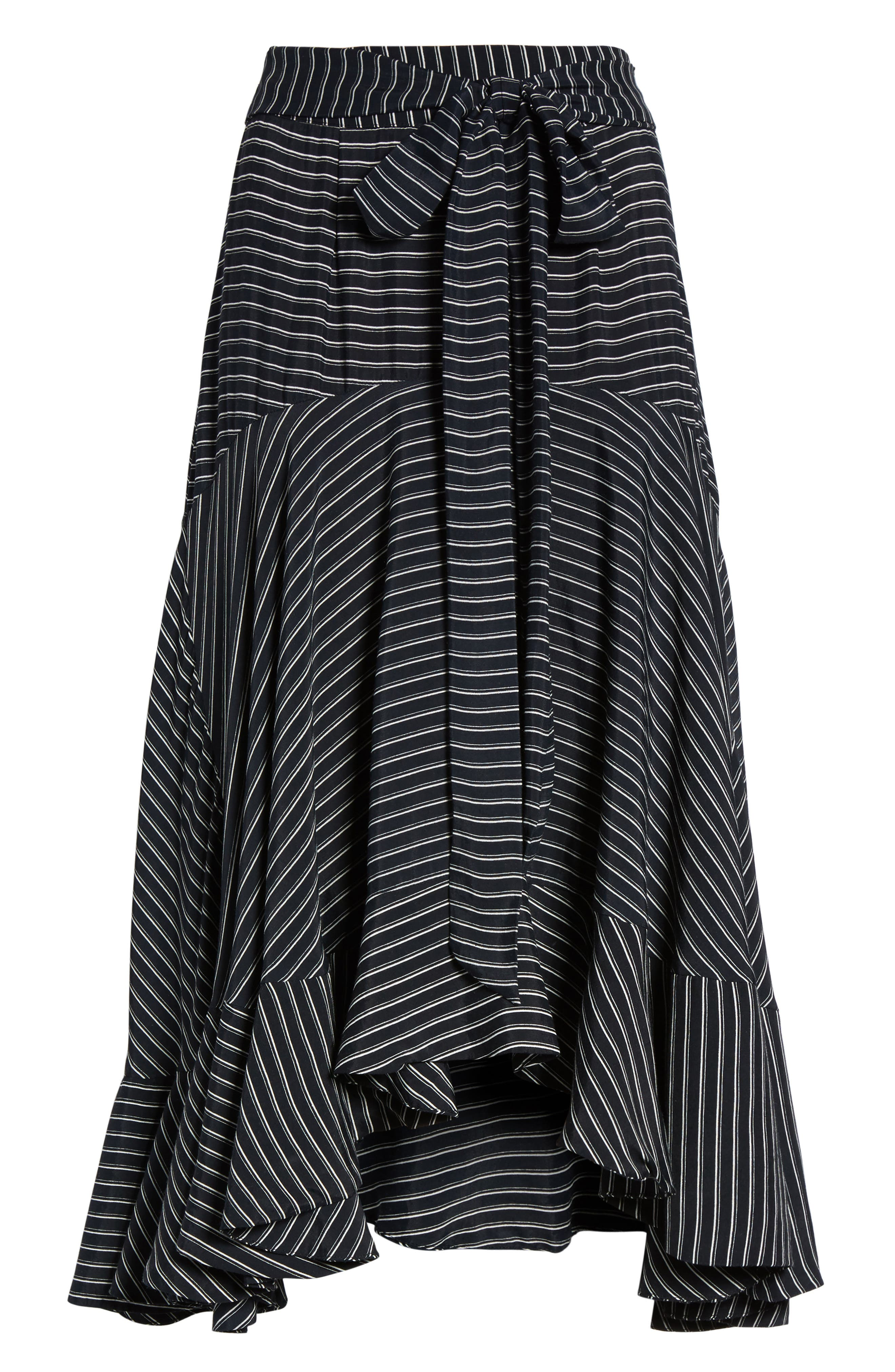 Kamares Ruffle Midi Skirt,                             Alternate thumbnail 6, color,                             001