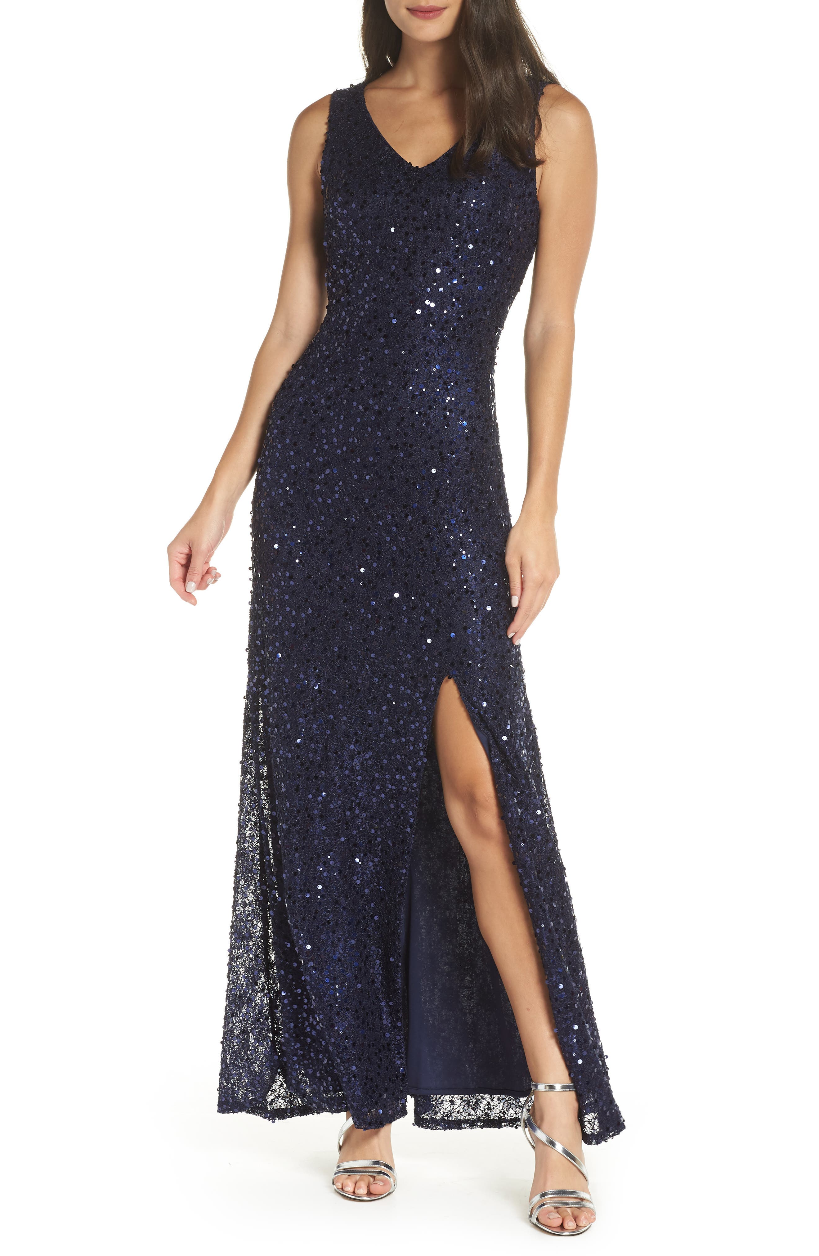 MORGAN & CO.,                             Sequin & Lace Gown,                             Main thumbnail 1, color,                             NAVY