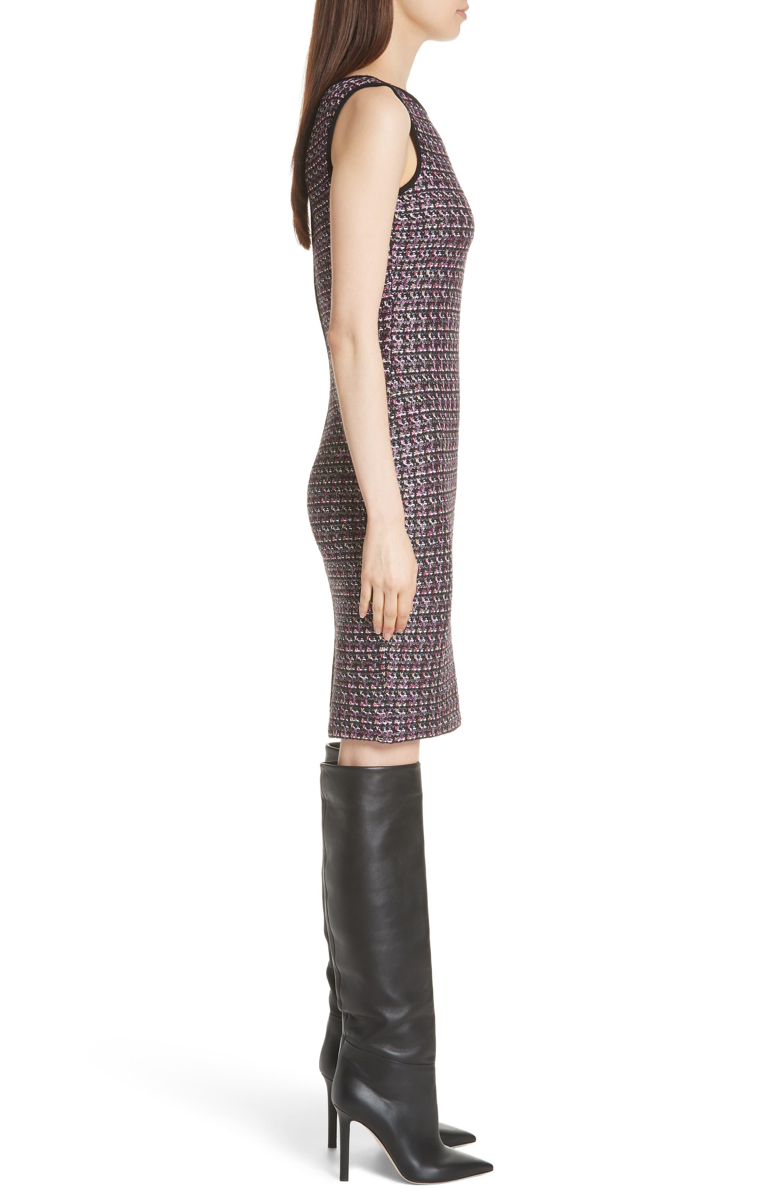 Painterly Sheen Tweed Knit Dress,                             Alternate thumbnail 3, color,                             GRANITE MULTI