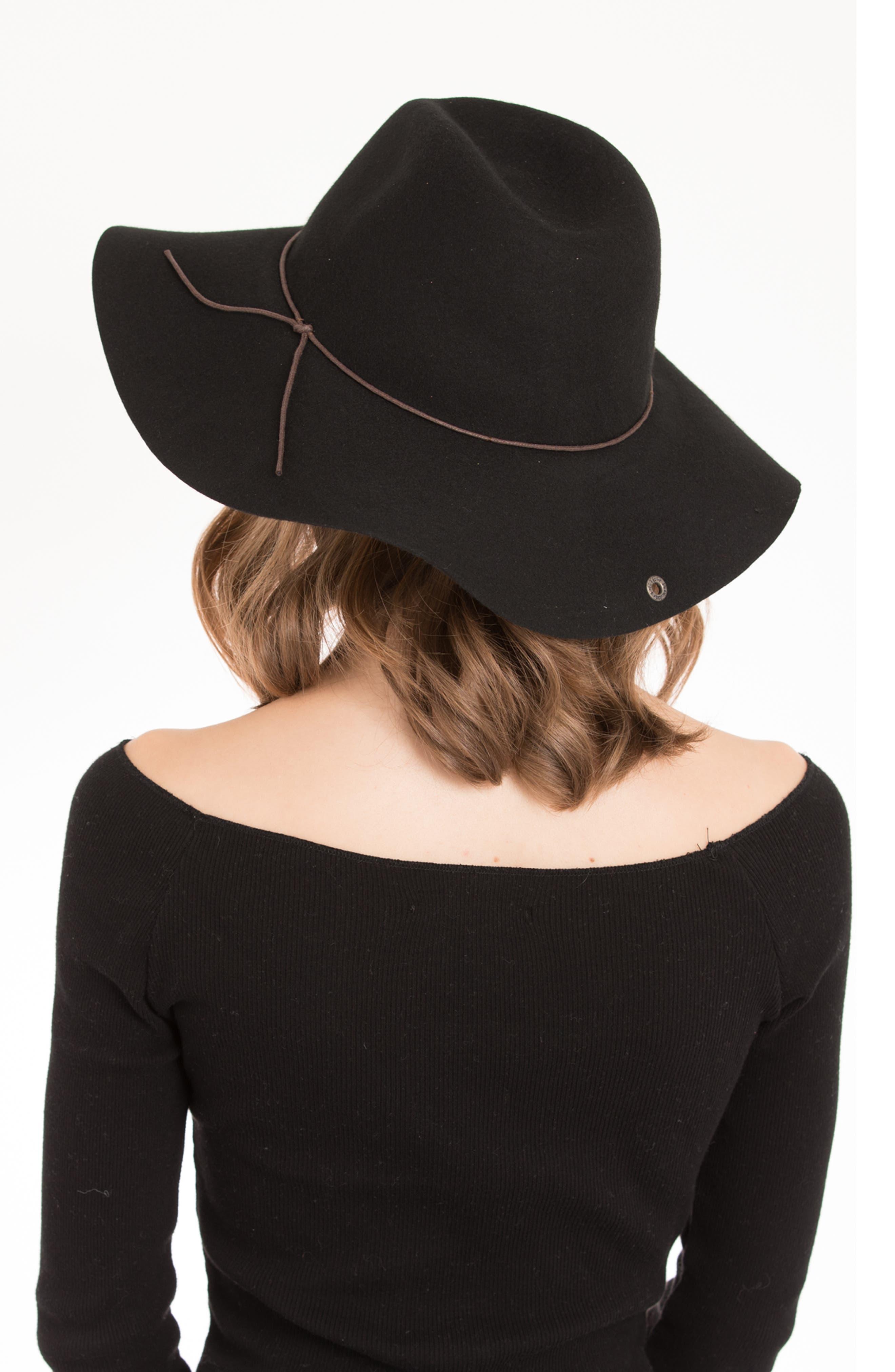 Zima Felted Wool Hat,                             Alternate thumbnail 4, color,                             BLACK