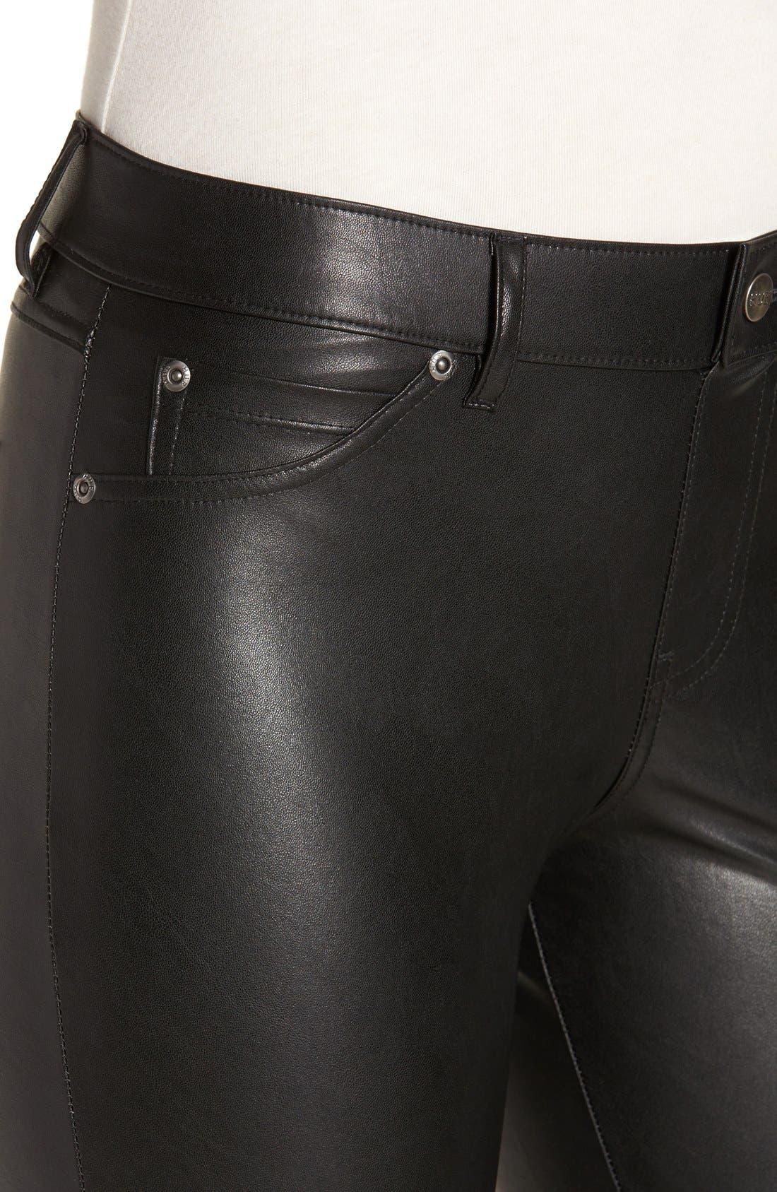 'Leatherette' Faux Leather Leggings,                             Alternate thumbnail 3, color,                             001