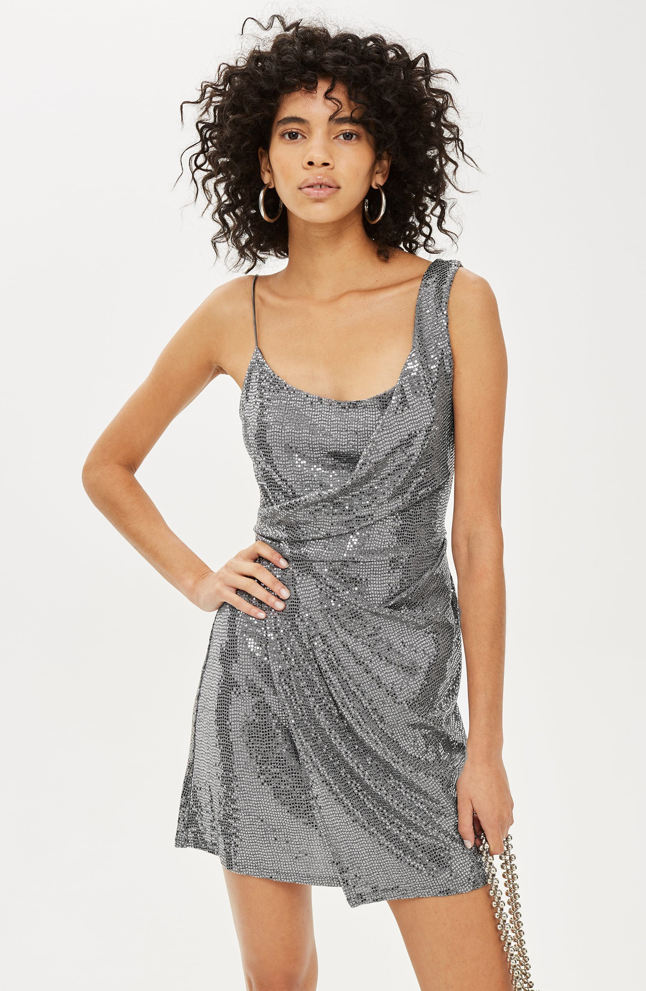 Sequin Minidress,                             Alternate thumbnail 6, color,                             SILVER