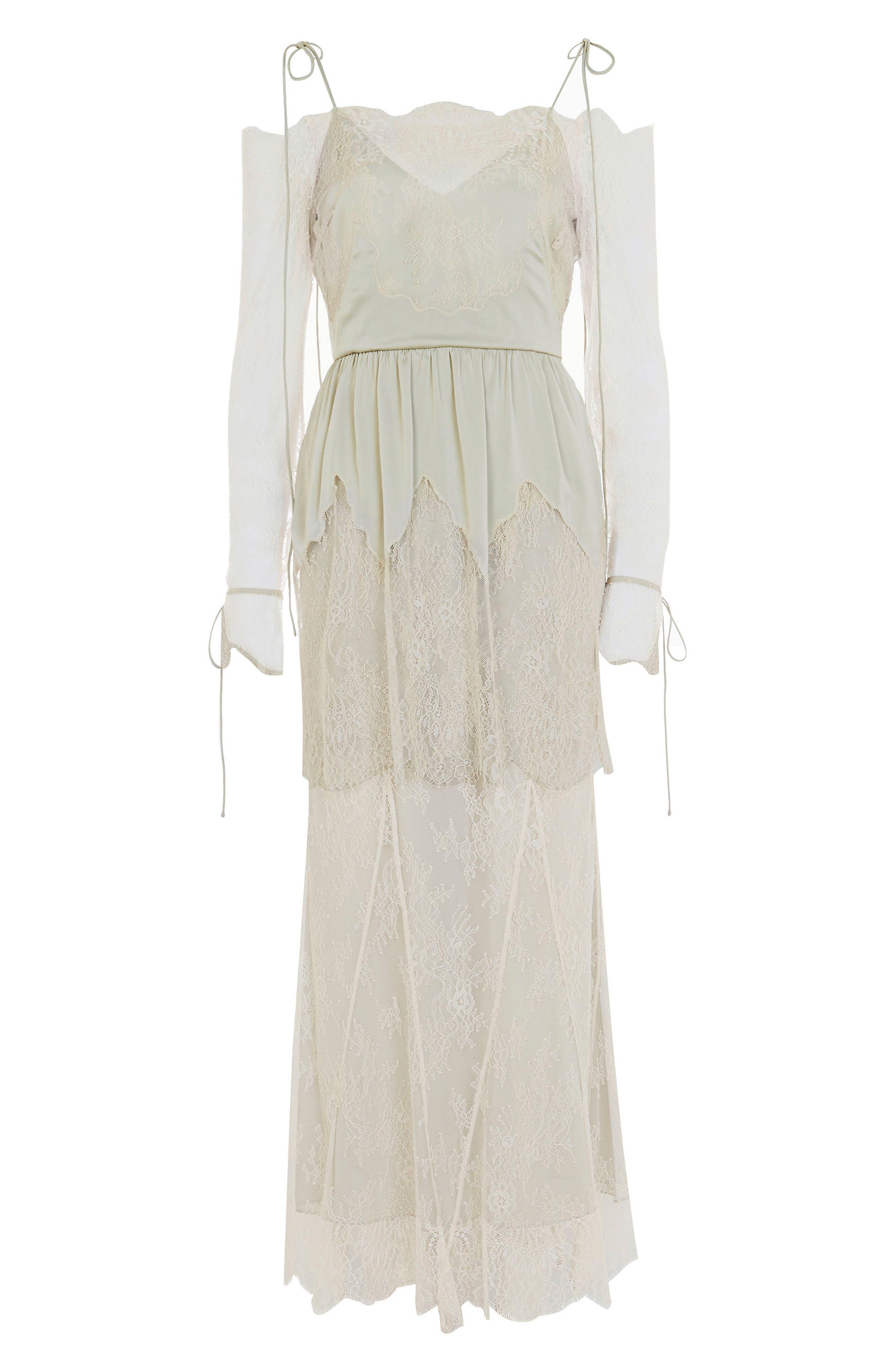 Bride Bardot Lace Off the Shoulder Gown,                             Alternate thumbnail 4, color,                             900