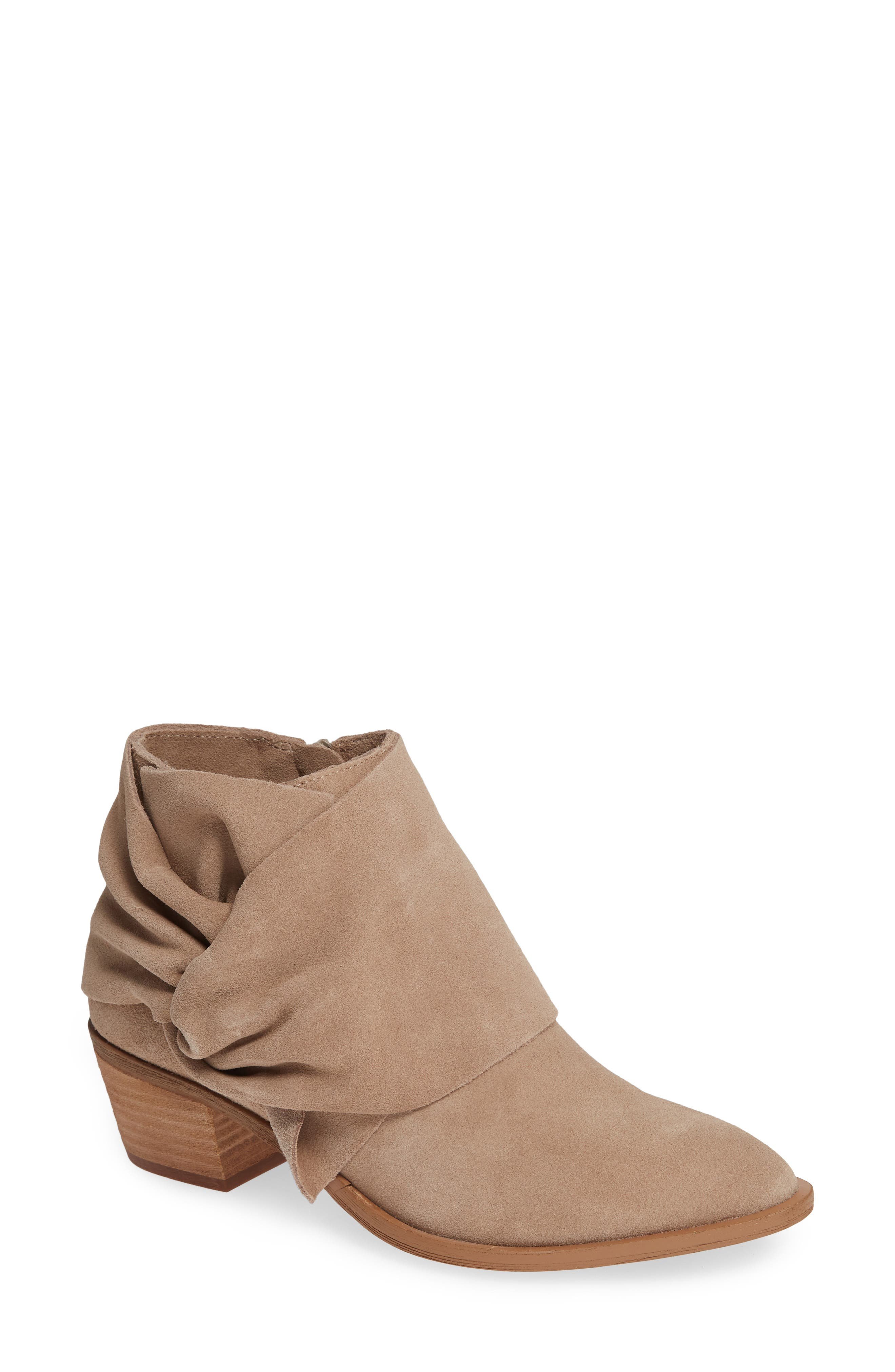 Natalyia Bootie,                             Main thumbnail 1, color,                             WARM TAUPE SUEDE
