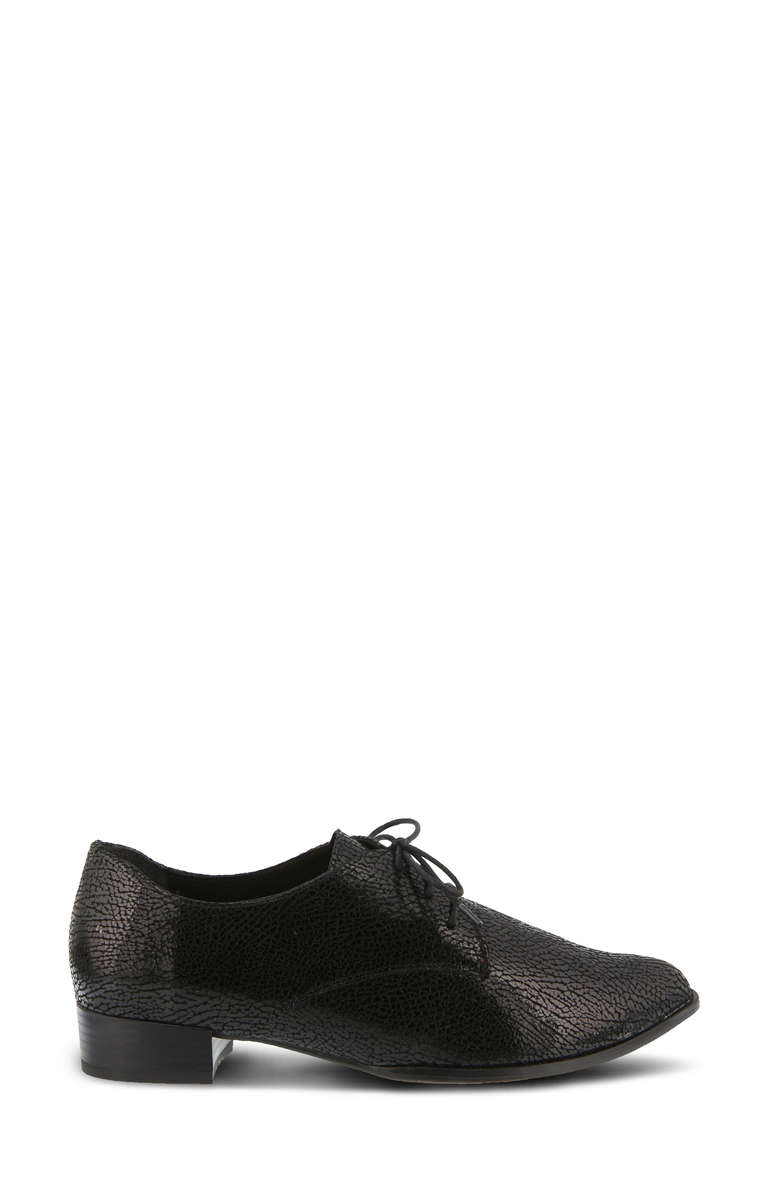 Conchetta Lace-Up Derby,                             Alternate thumbnail 3, color,                             BLACK LEATHER