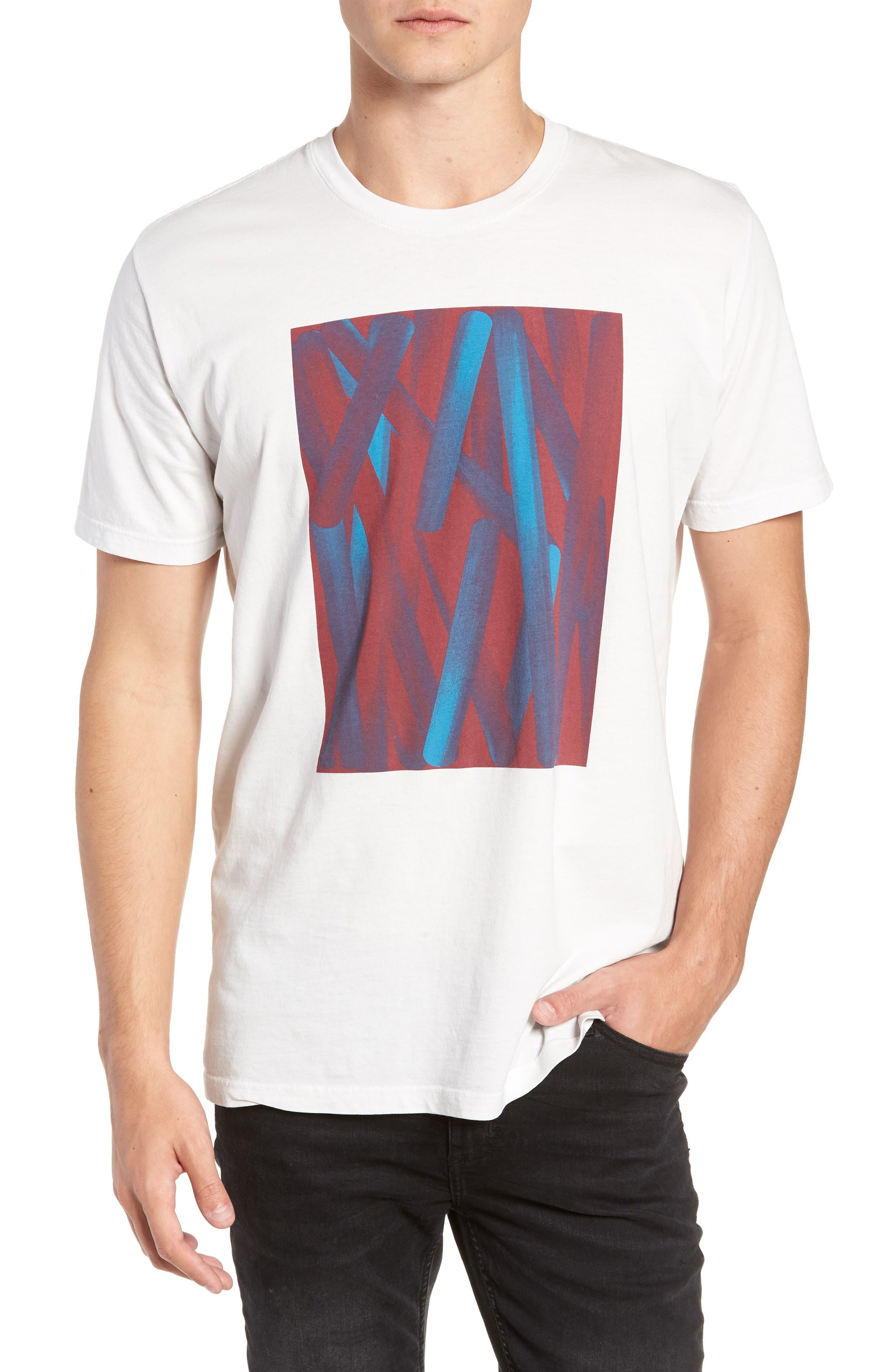 VESTIGE Acrylic Stripe Graphic T-Shirt in White