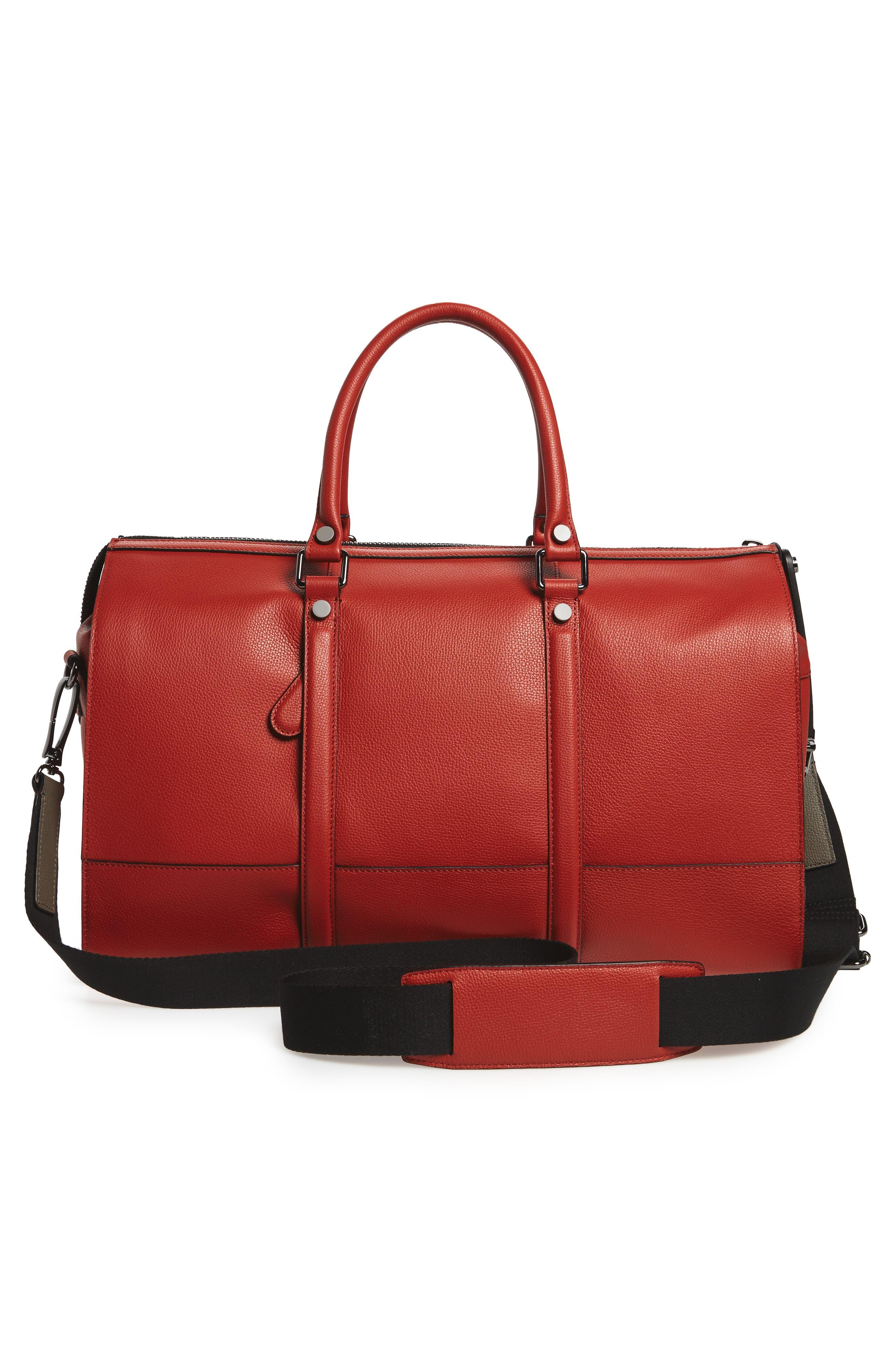 Leather Duffel Bag,                             Alternate thumbnail 9, color,
