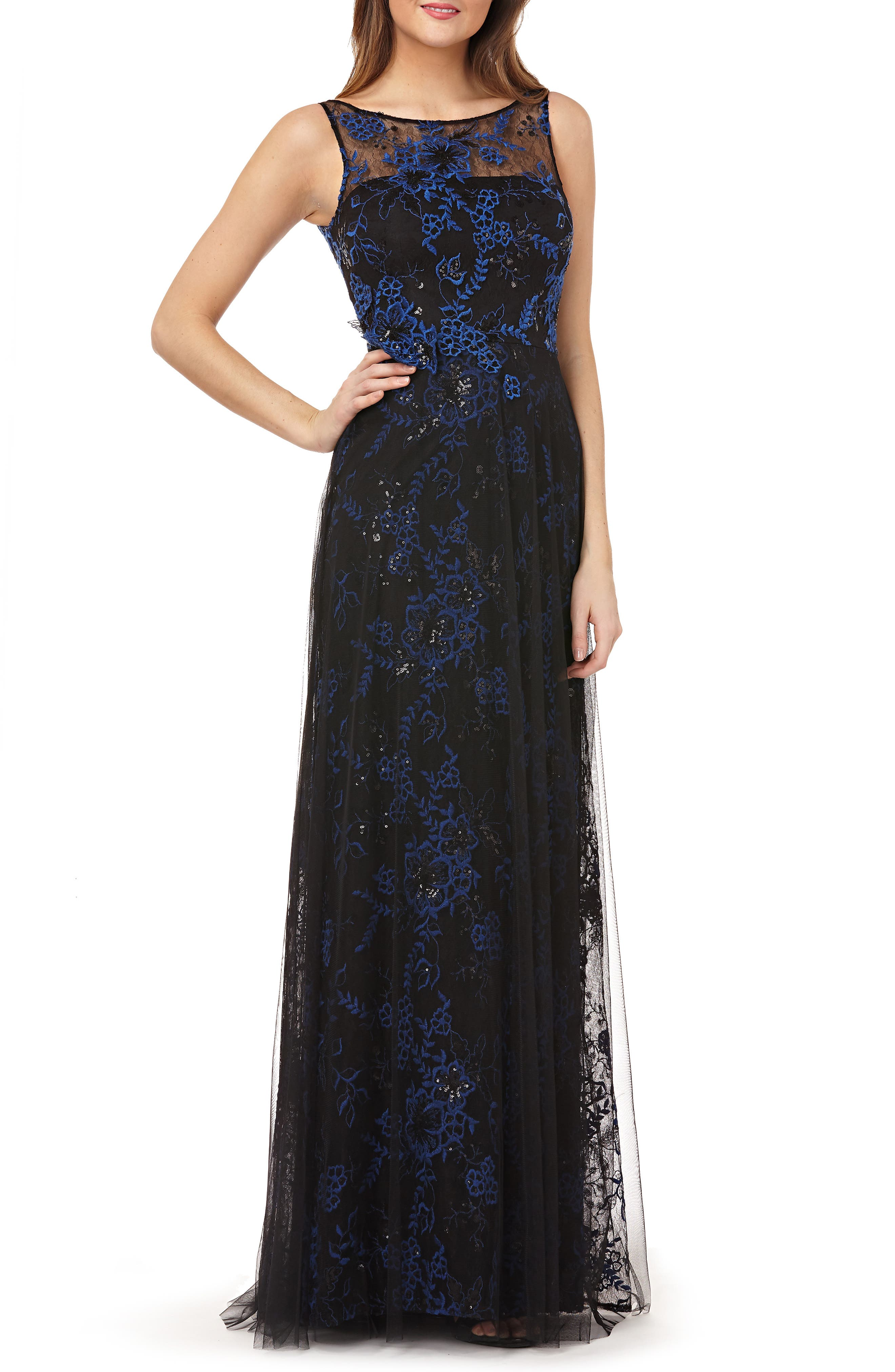 CARMEN MARC VALVO INFUSION Sequin Threadwork Gown, Main, color, COBALT/ BLACK