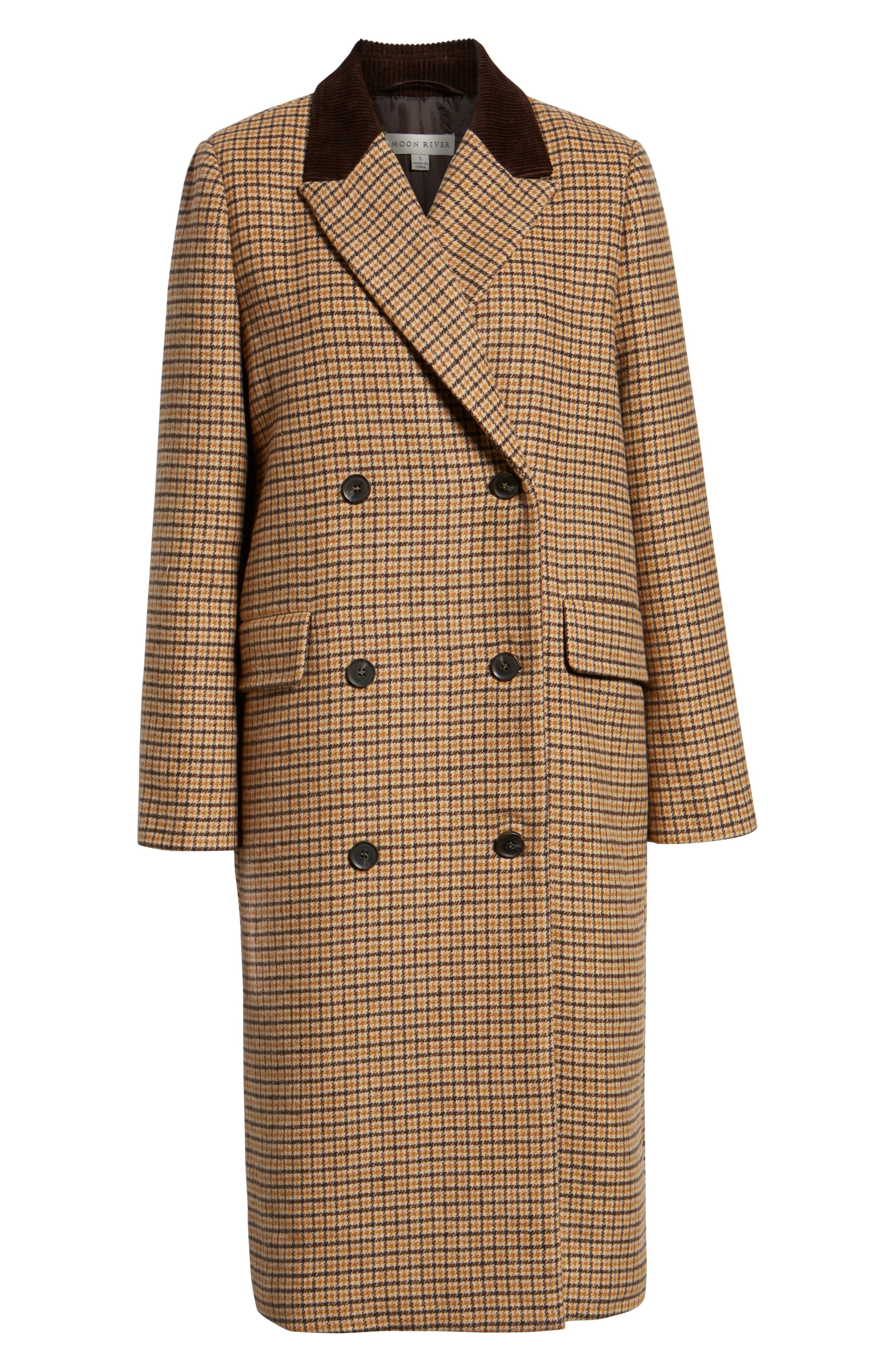MOON RIVER,                             Houndstooth Double Breasted COat,                             Alternate thumbnail 6, color,                             BROWN PLAID