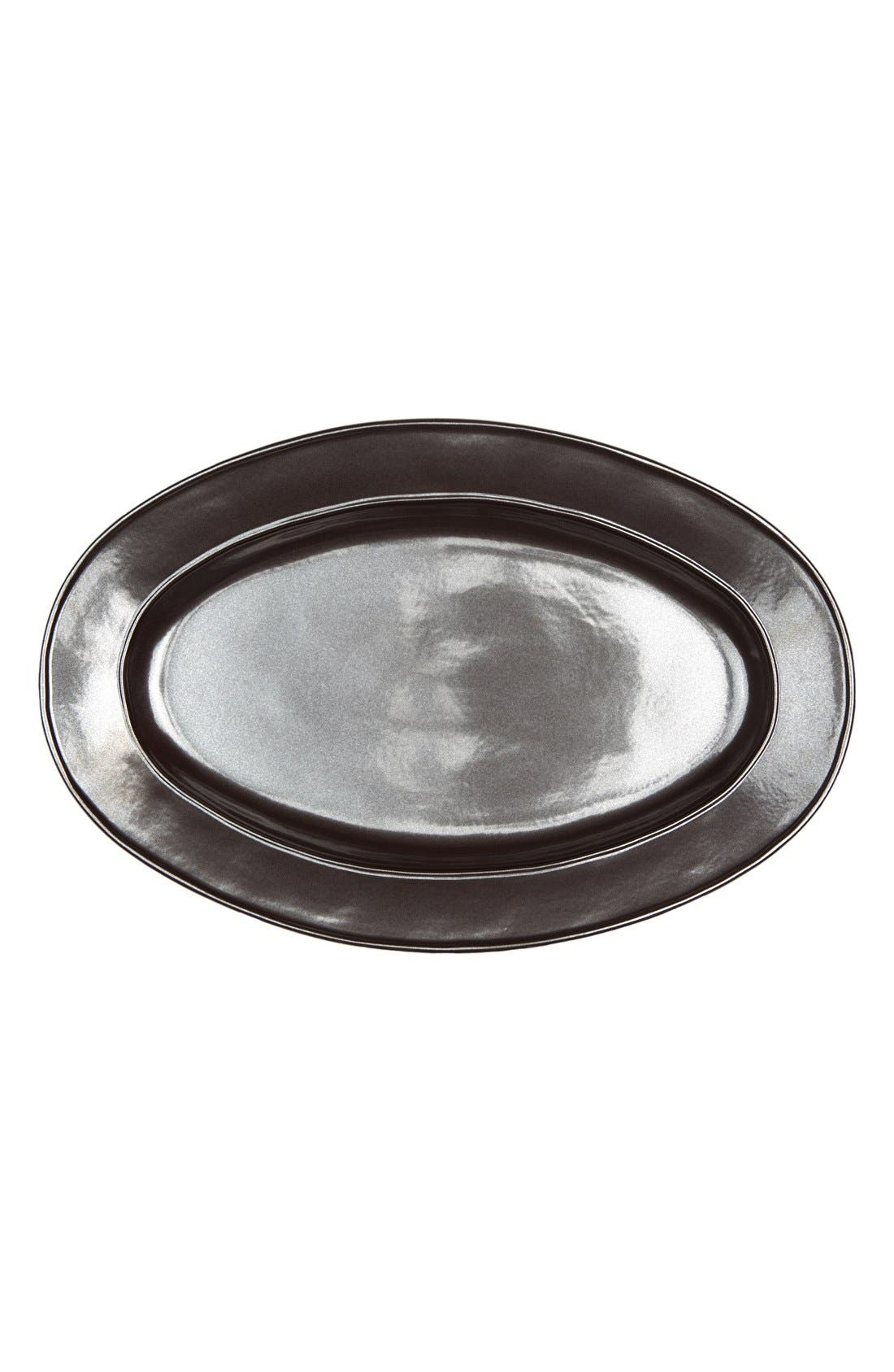 Pewter Stoneware Oval Platter,                             Main thumbnail 1, color,                             PEWTER
