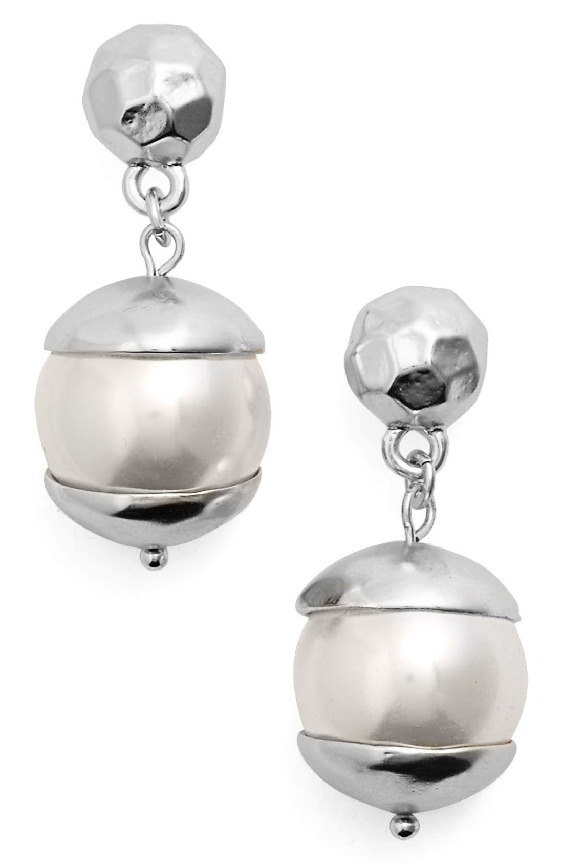 Imitation Pearl Drop Earrings,                             Main thumbnail 1, color,                             SILVER