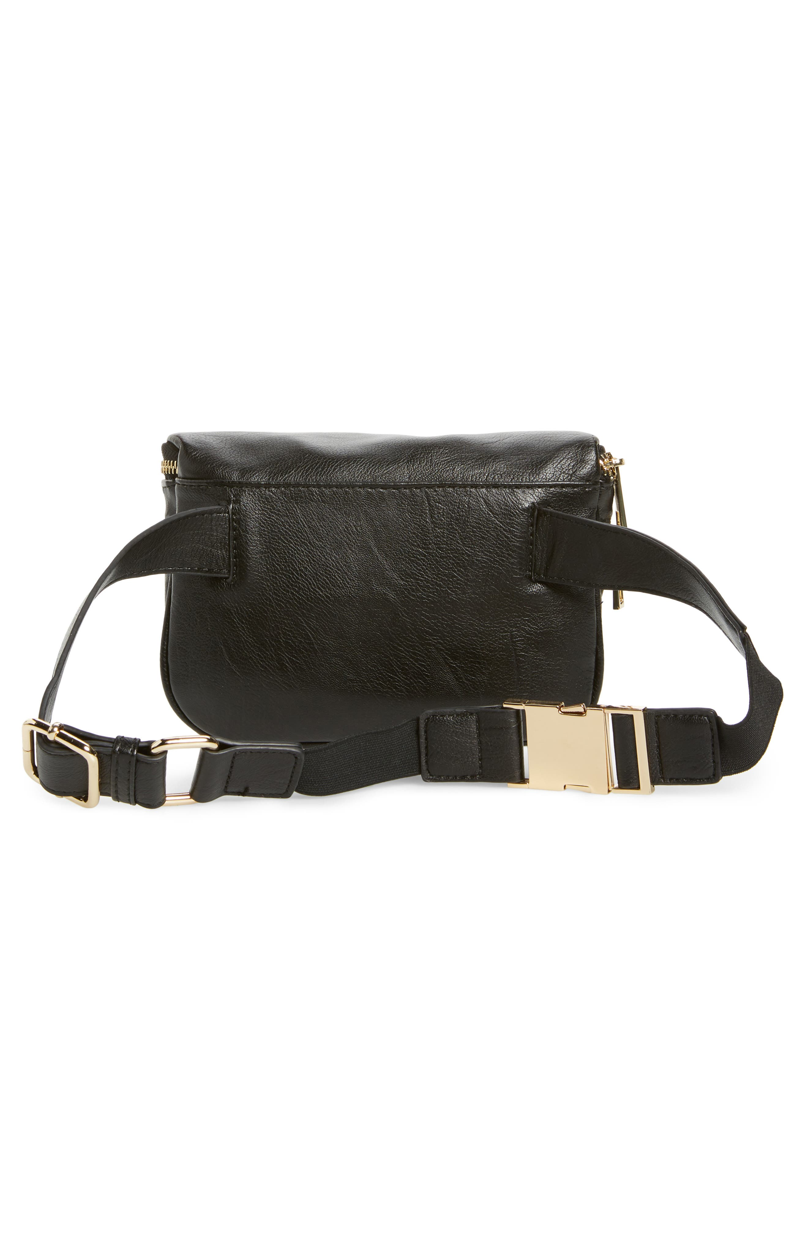 Cadee Faux Leather Belt Bag,                             Alternate thumbnail 4, color,                             BLACK