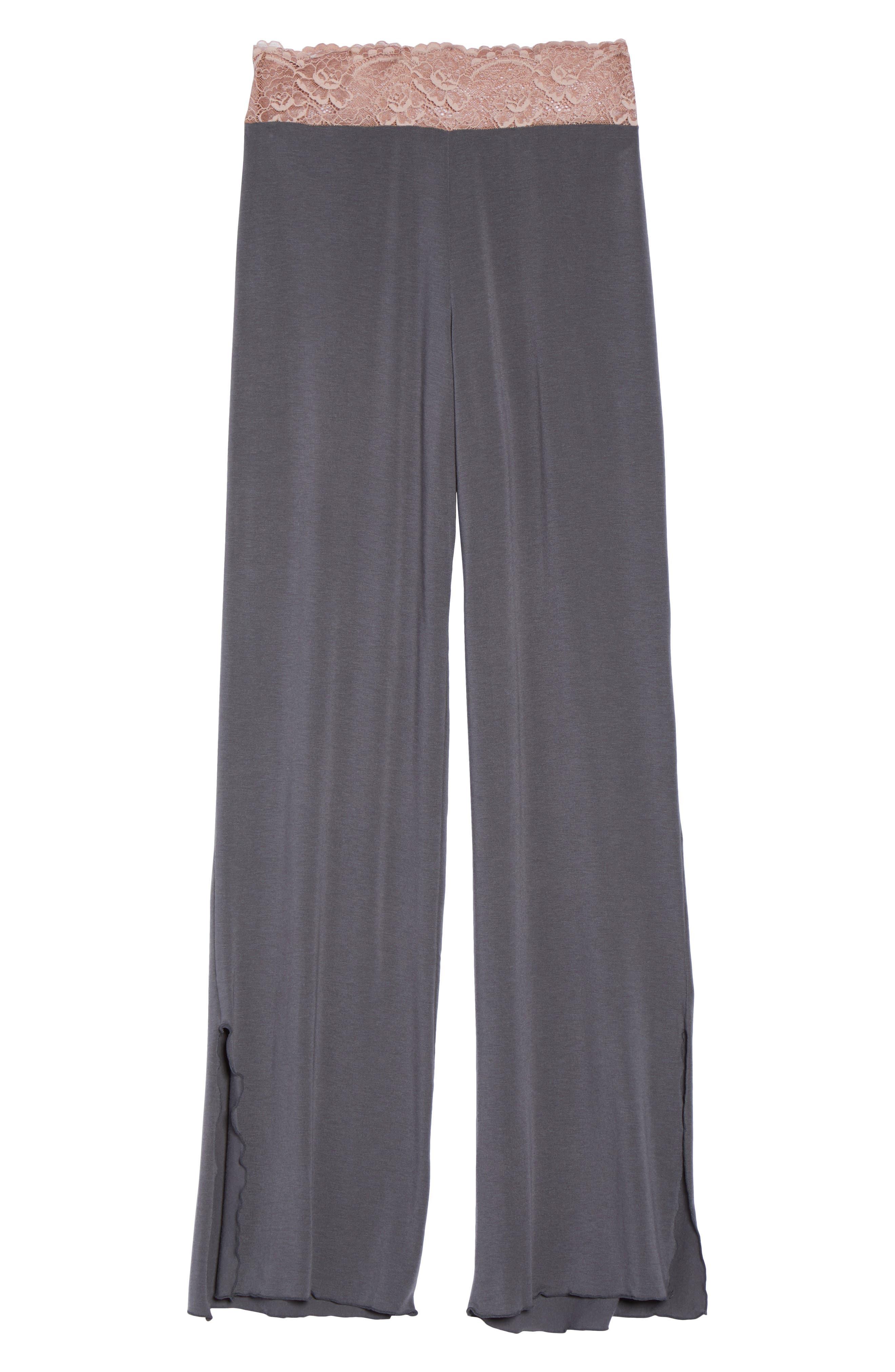 Lace Trim Pants,                             Alternate thumbnail 6, color,                             SLATE WITH JAVA LACE