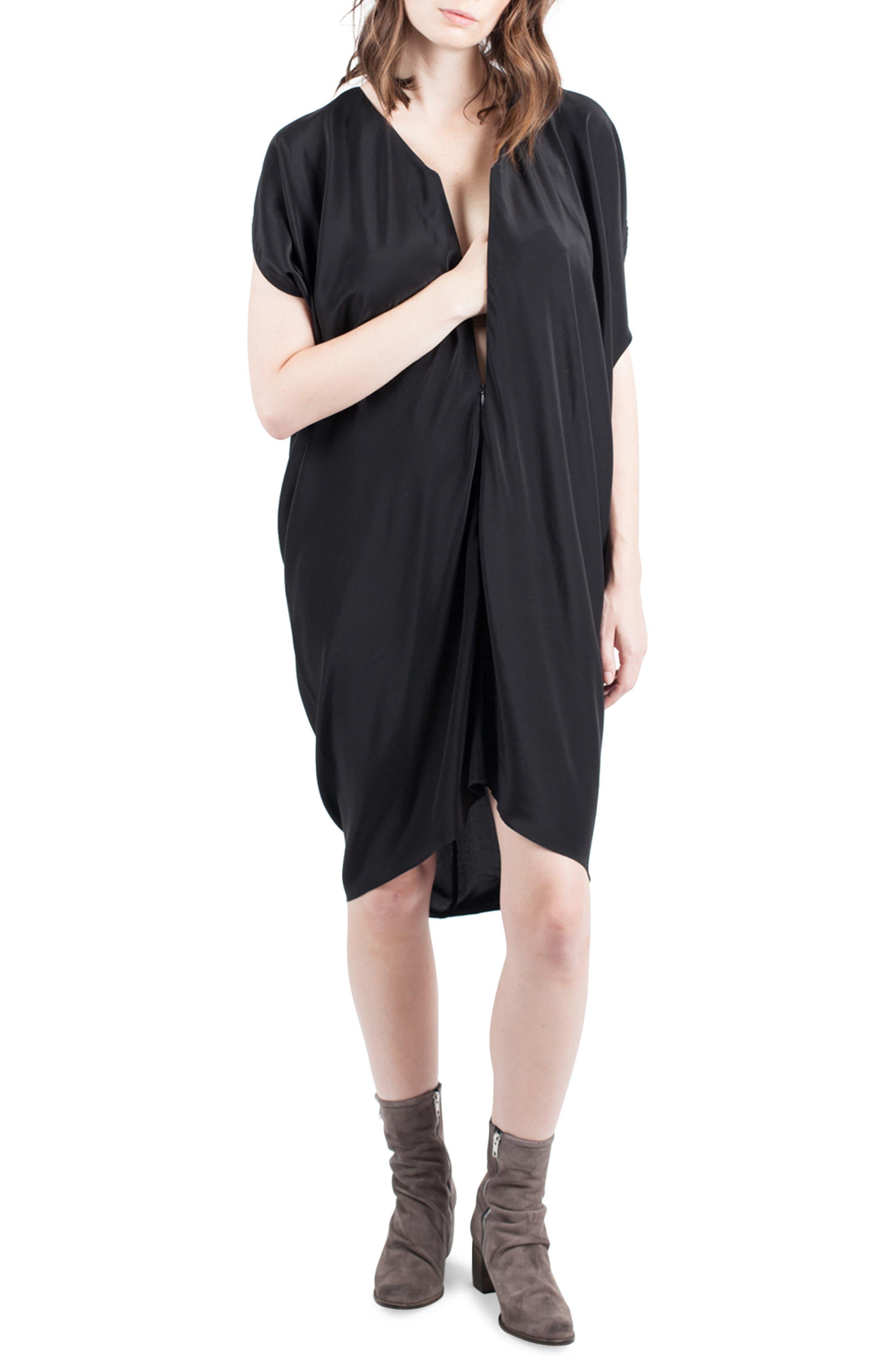 Silk Maternity/Nursing Dress,                             Alternate thumbnail 2, color,                             001
