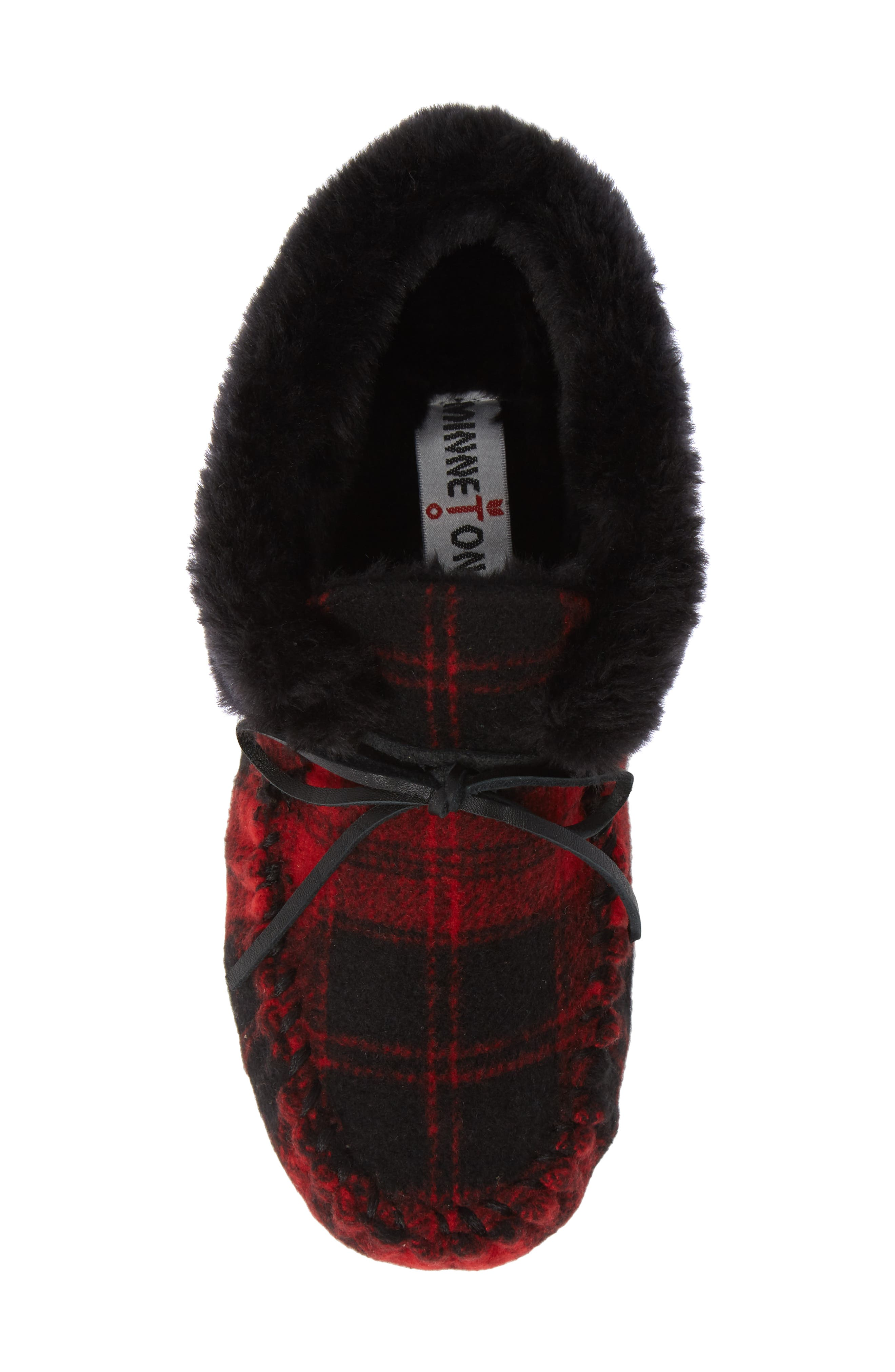 MINNETONKA,                             'Chrissy' Slipper Bootie,                             Alternate thumbnail 5, color,                             RED PLAID FABRIC