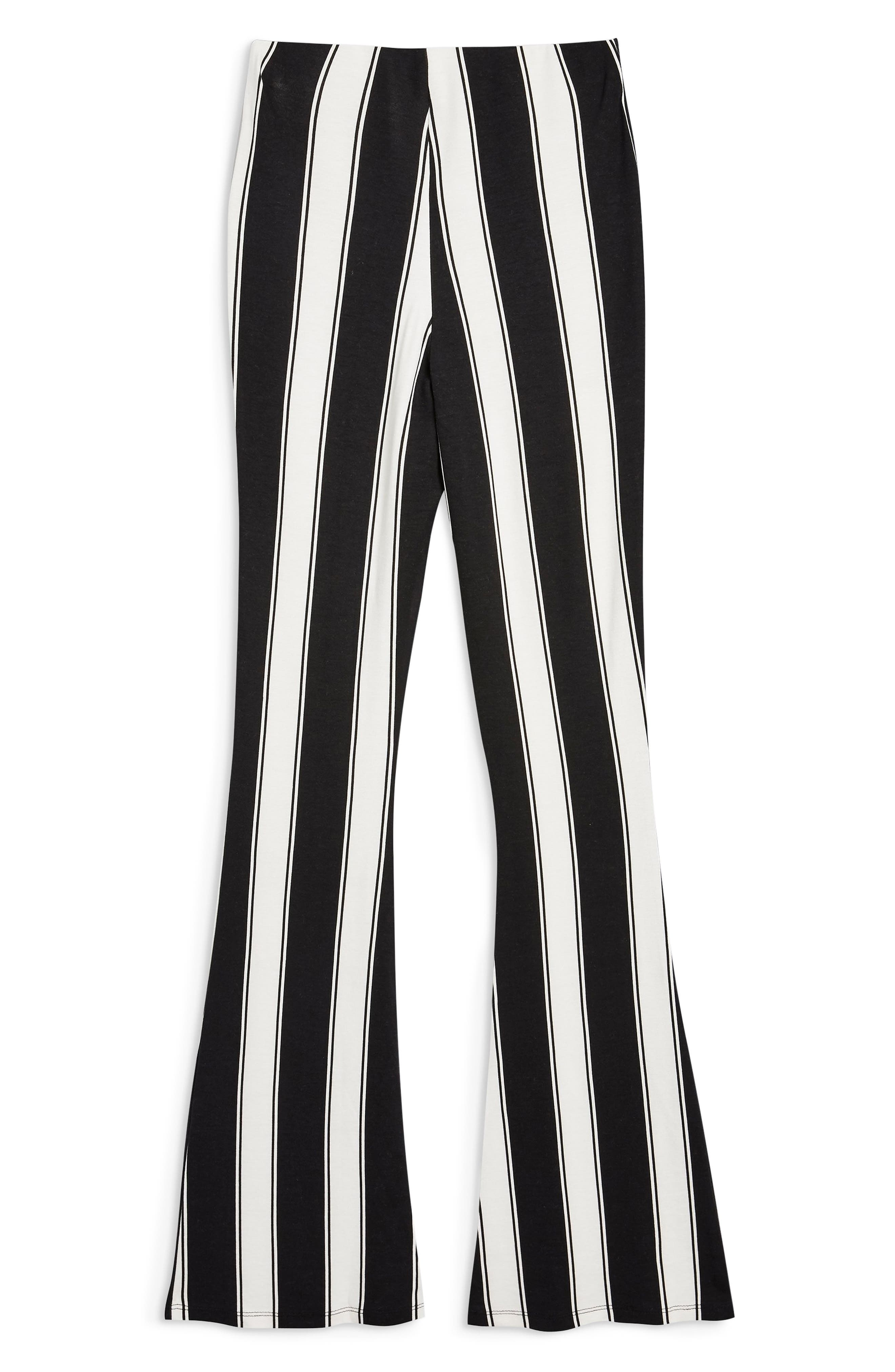 Stripe Flare Trousers,                             Alternate thumbnail 4, color,                             BLACK MULTI