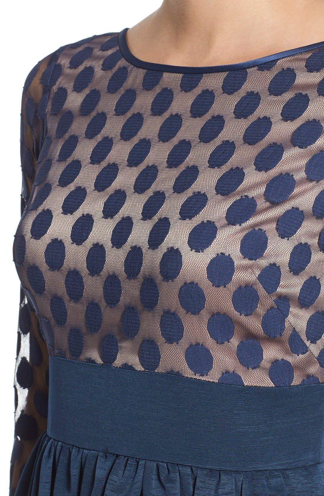 Dot Mesh Bodice Fit & Flare Dress,                             Alternate thumbnail 4, color,