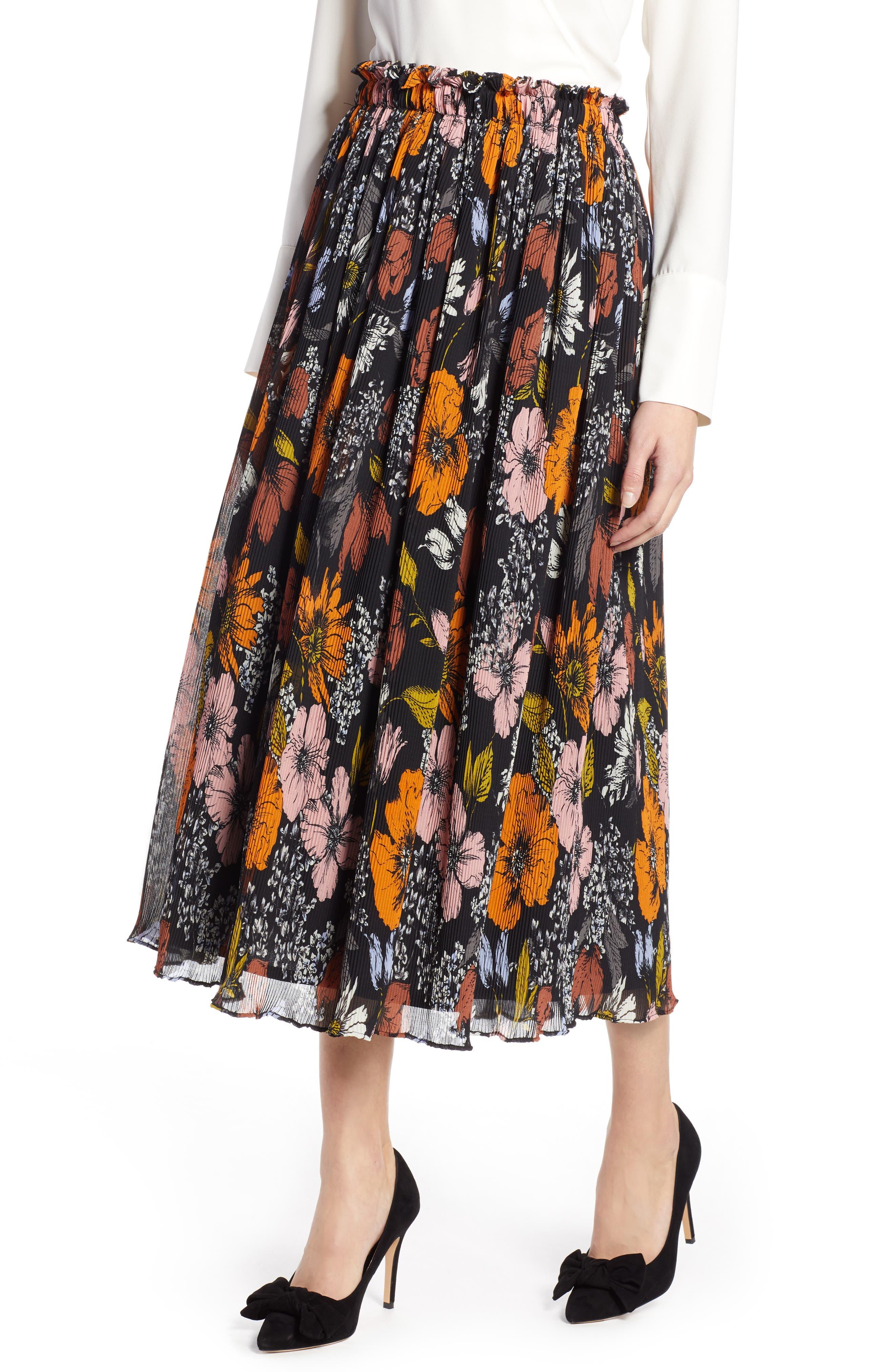 Halogen X Atlantic-Pacific Crinkle Midi Skirt, Black