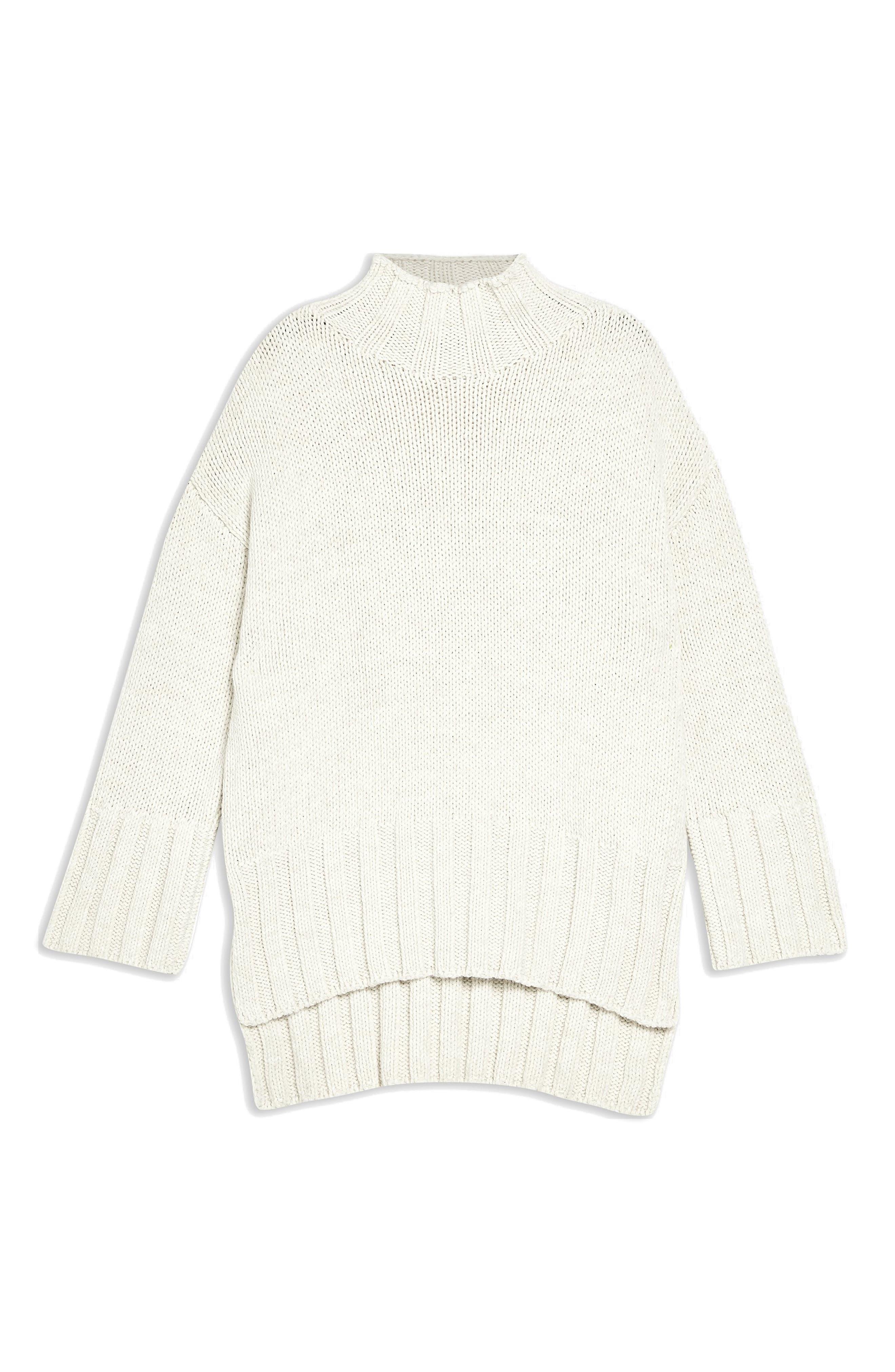 Oversize Longline Sweater,                             Alternate thumbnail 4, color,                             IVORY