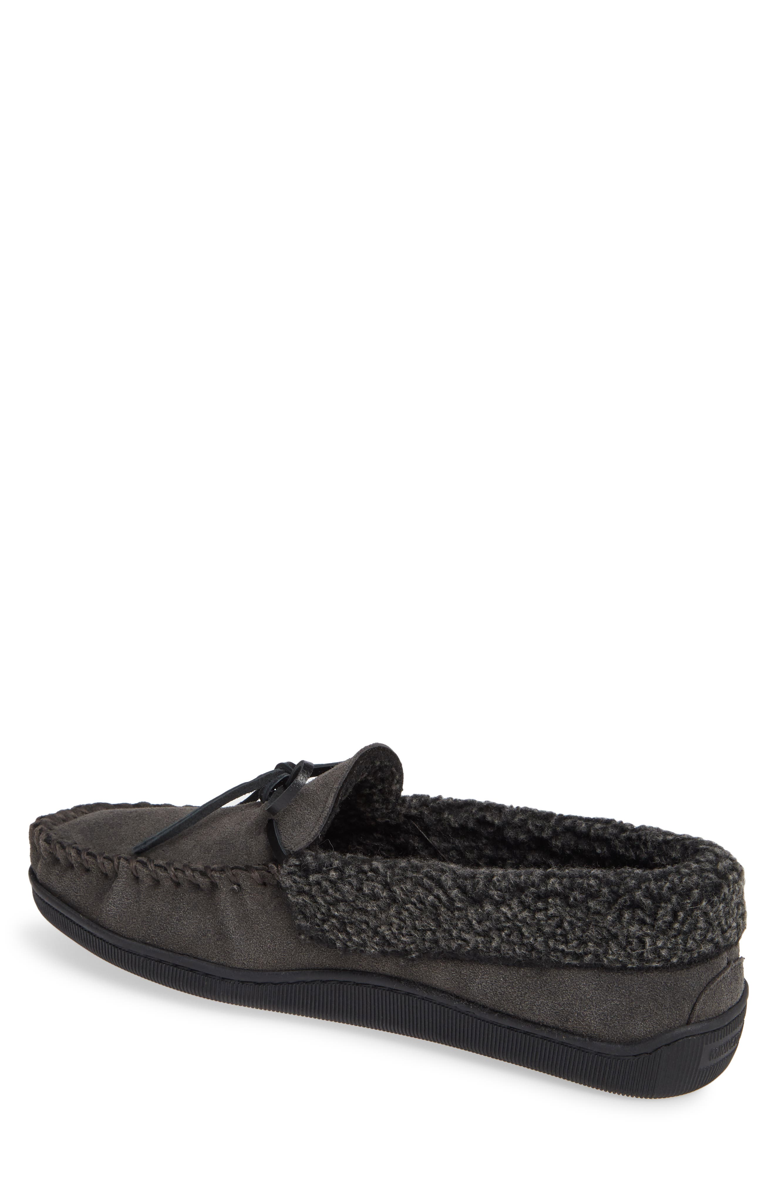 Allen Moccasin Slipper,                             Alternate thumbnail 2, color,                             CHARCOAL SUEDE