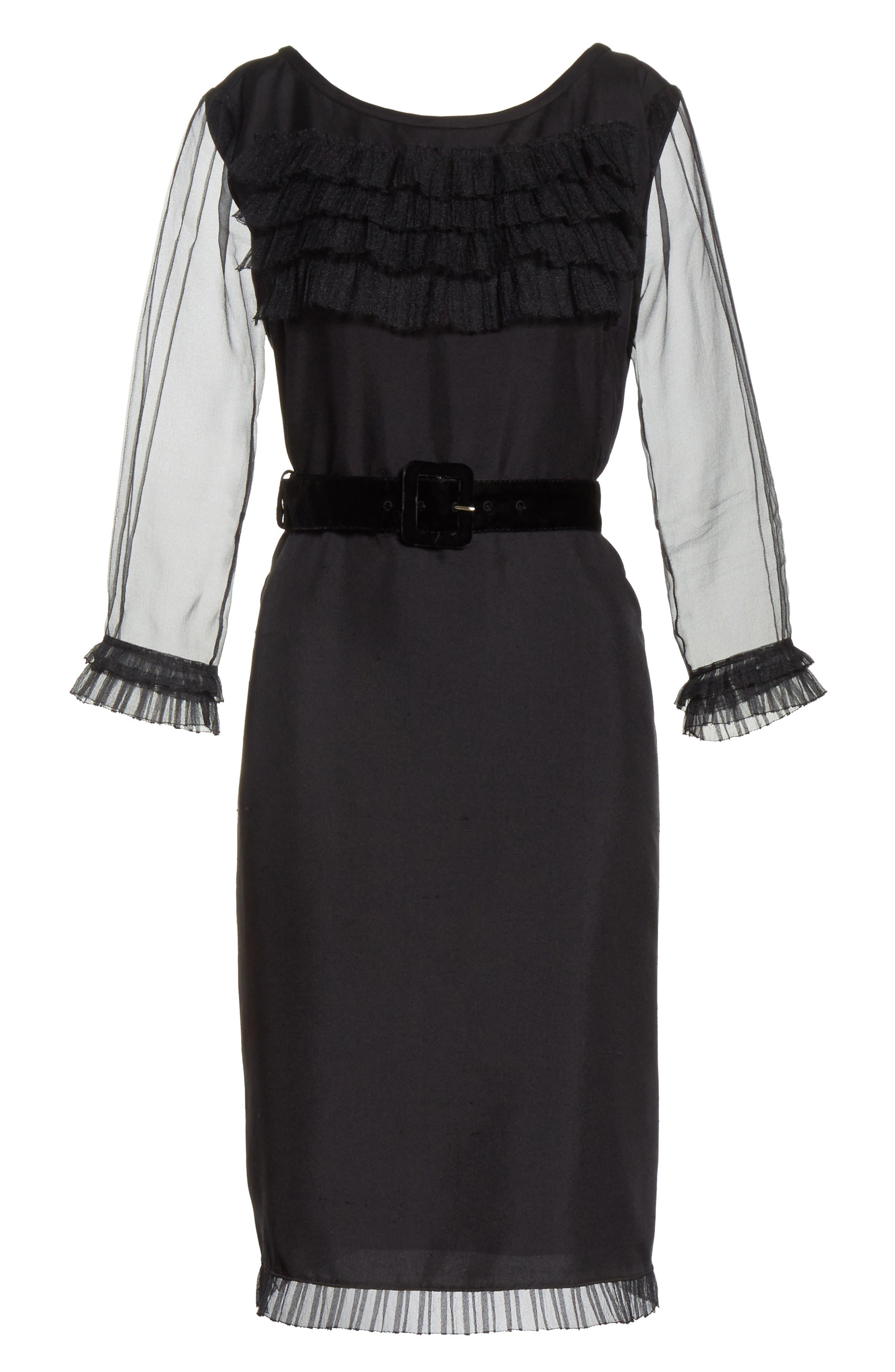 Silk Tulle Ruffle Dress,                             Alternate thumbnail 6, color,                             001