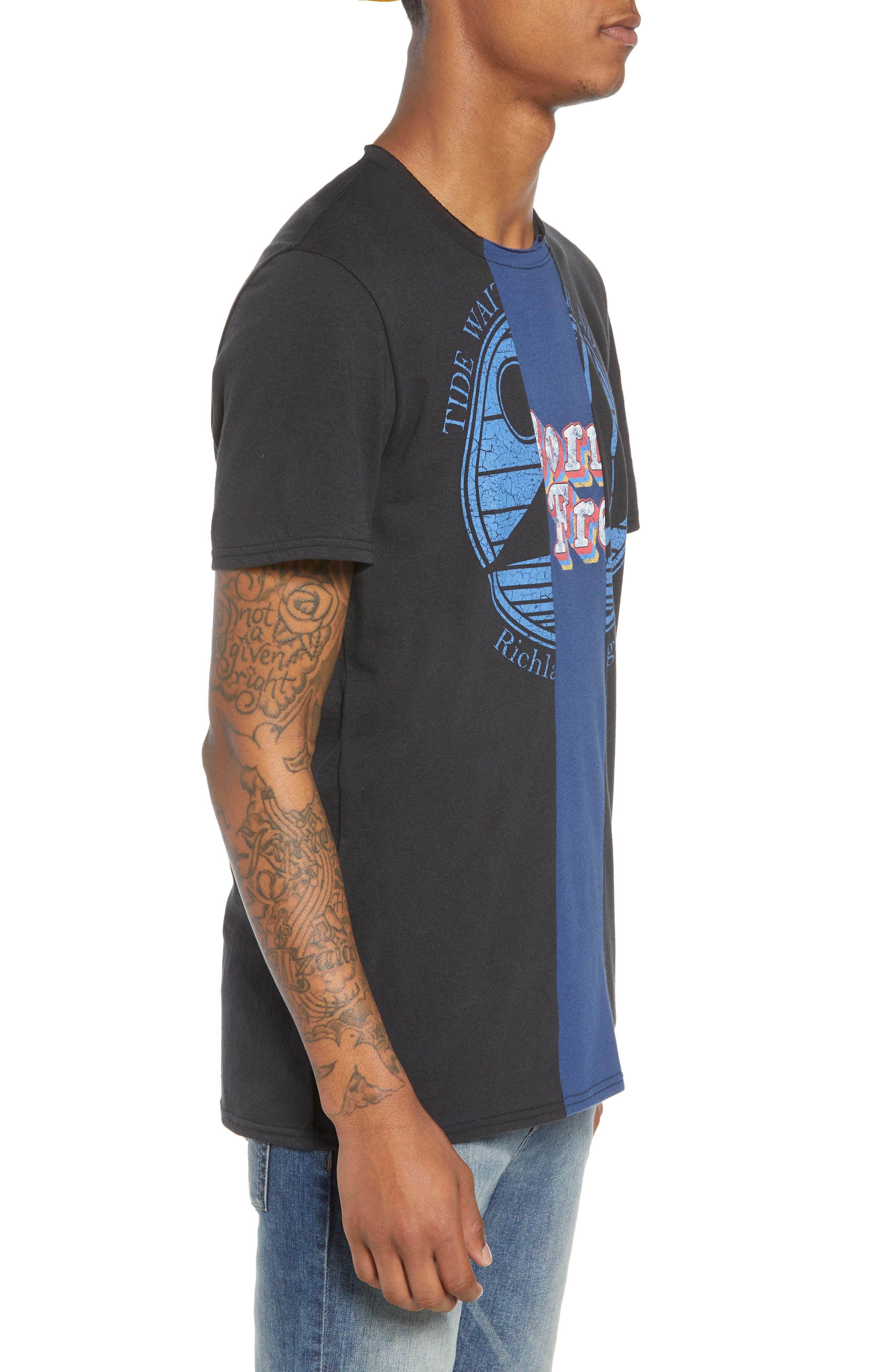 Tri-Splice T-Shirt,                             Alternate thumbnail 3, color,                             BLACK NAVY SKI SPLICE
