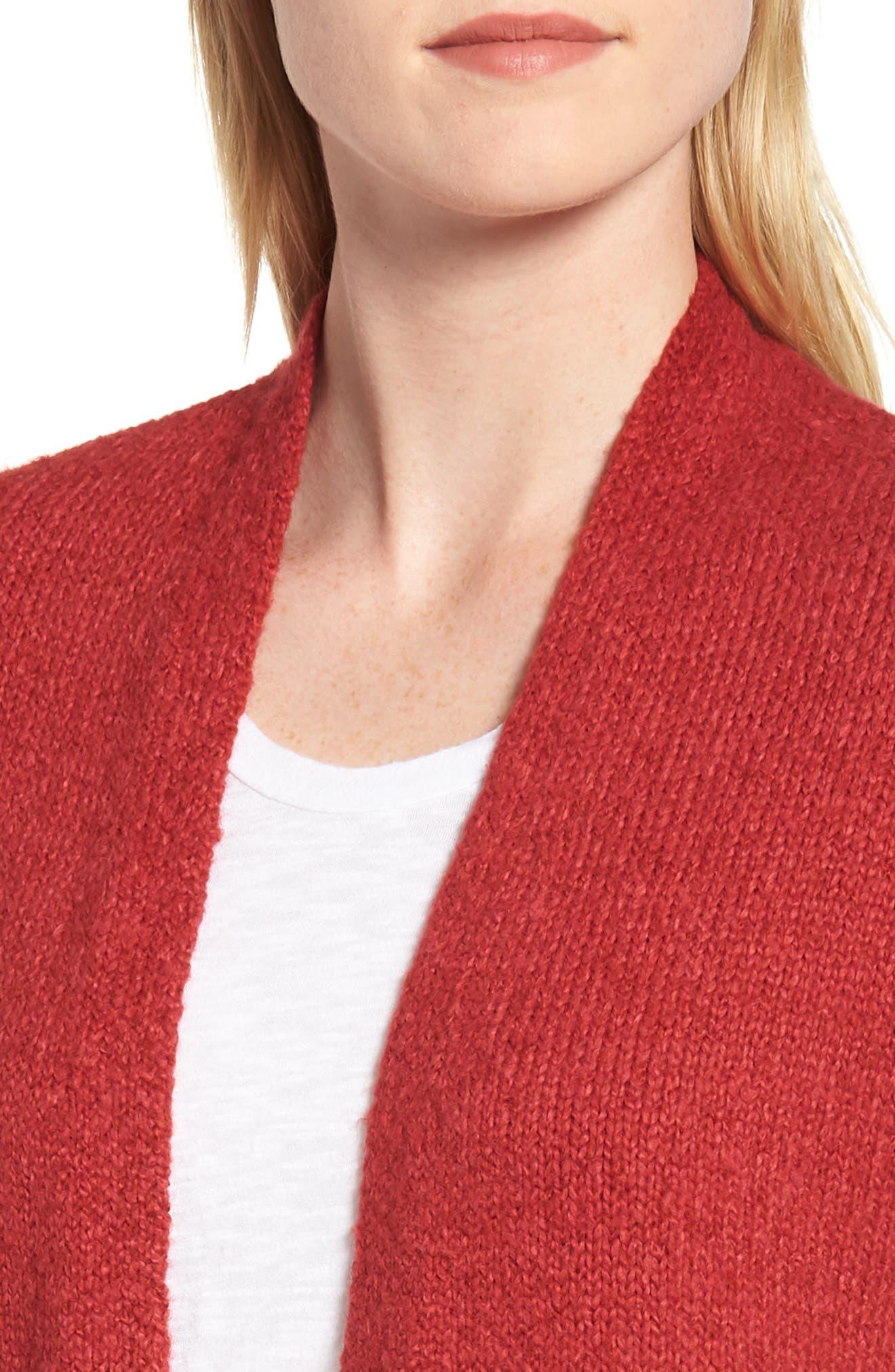 Cotton Blend Cardigan,                             Alternate thumbnail 4, color,                             RED
