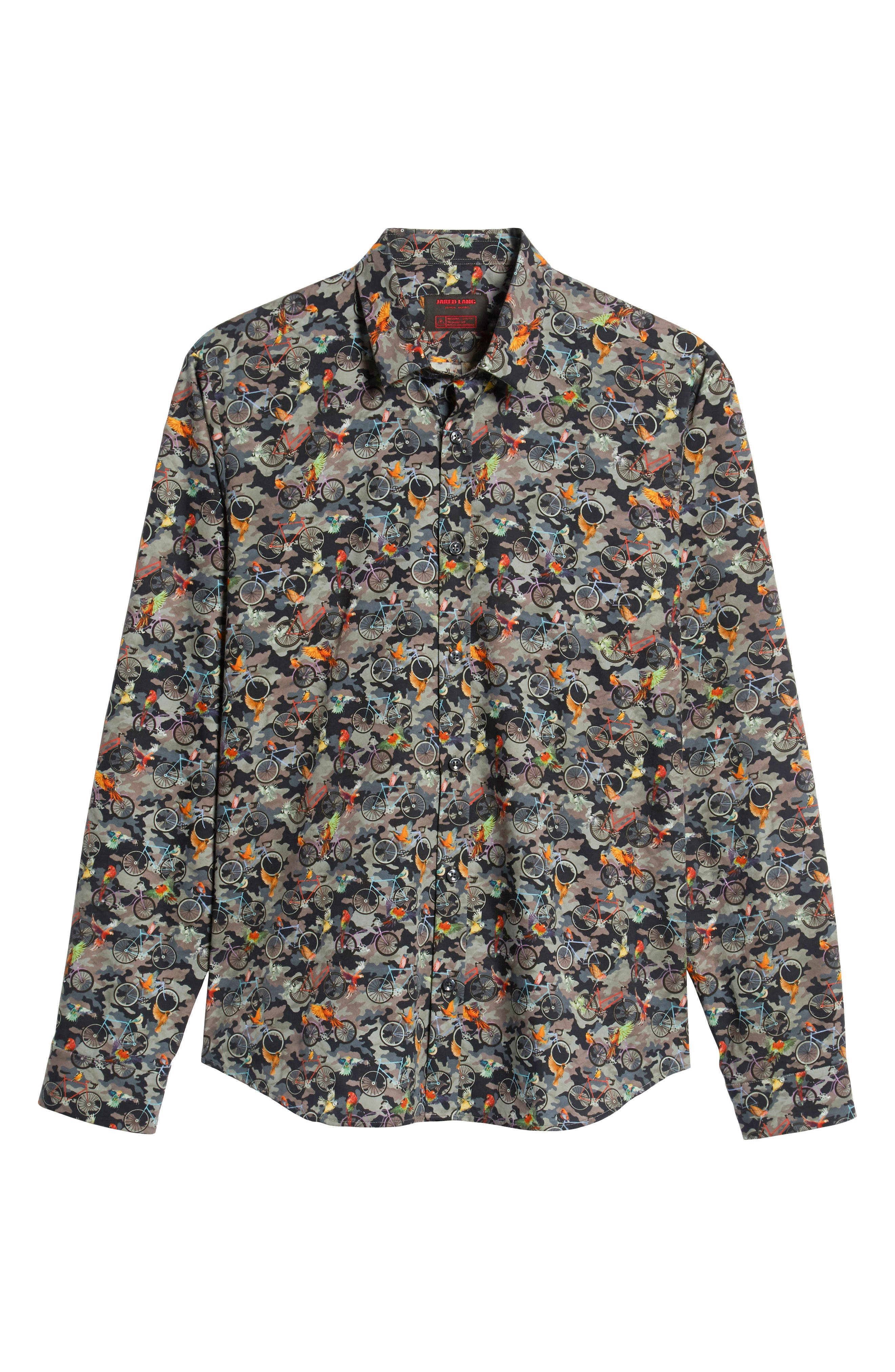 Print Long Sleeve Trim Fit Sport Shirt,                             Alternate thumbnail 5, color,                             300