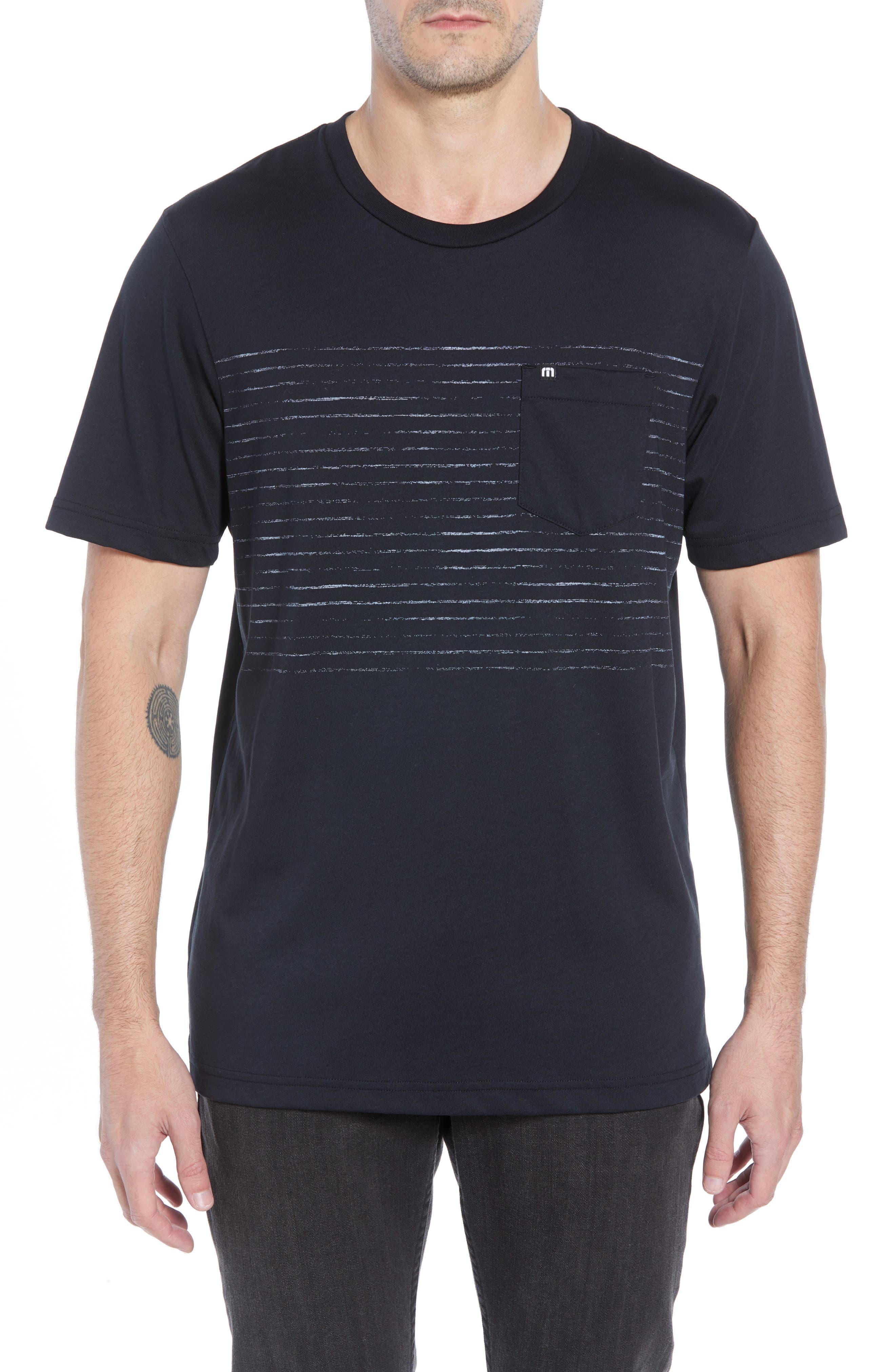 Travis Mathew Outliner Striped Pocket T-Shirt, Black