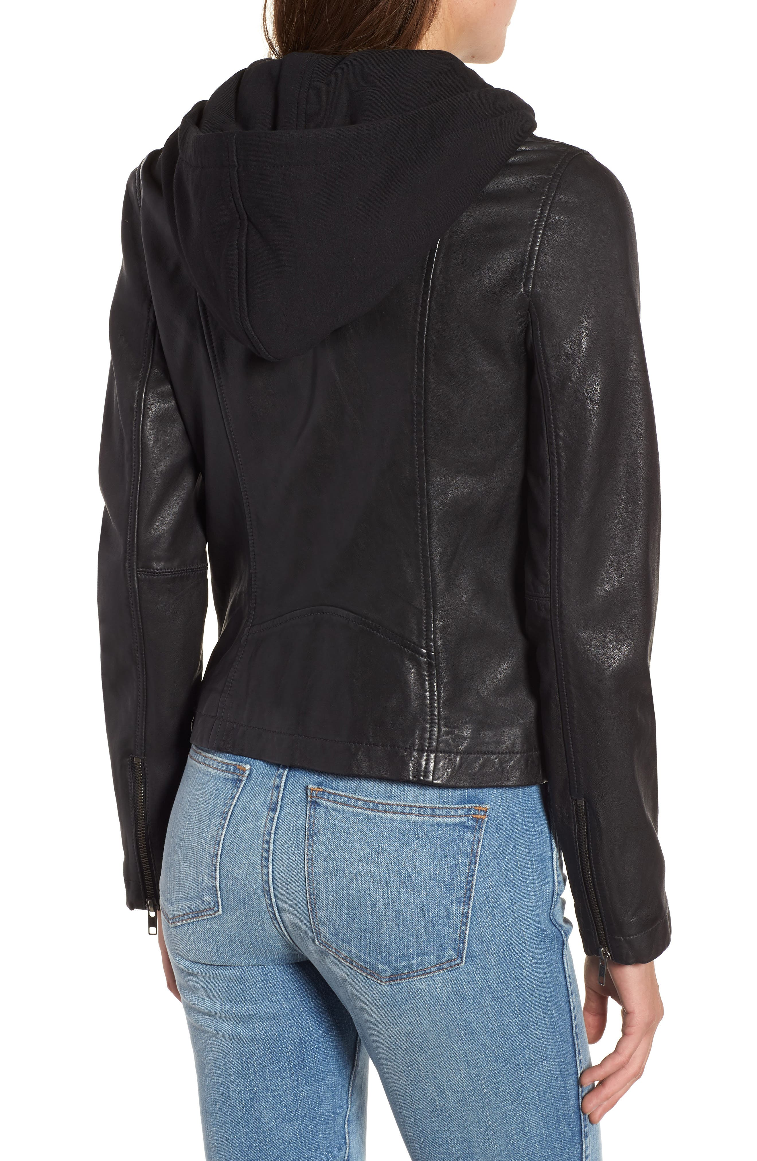Leather Moto Jacket with Removable Hood,                             Alternate thumbnail 2, color,                             001