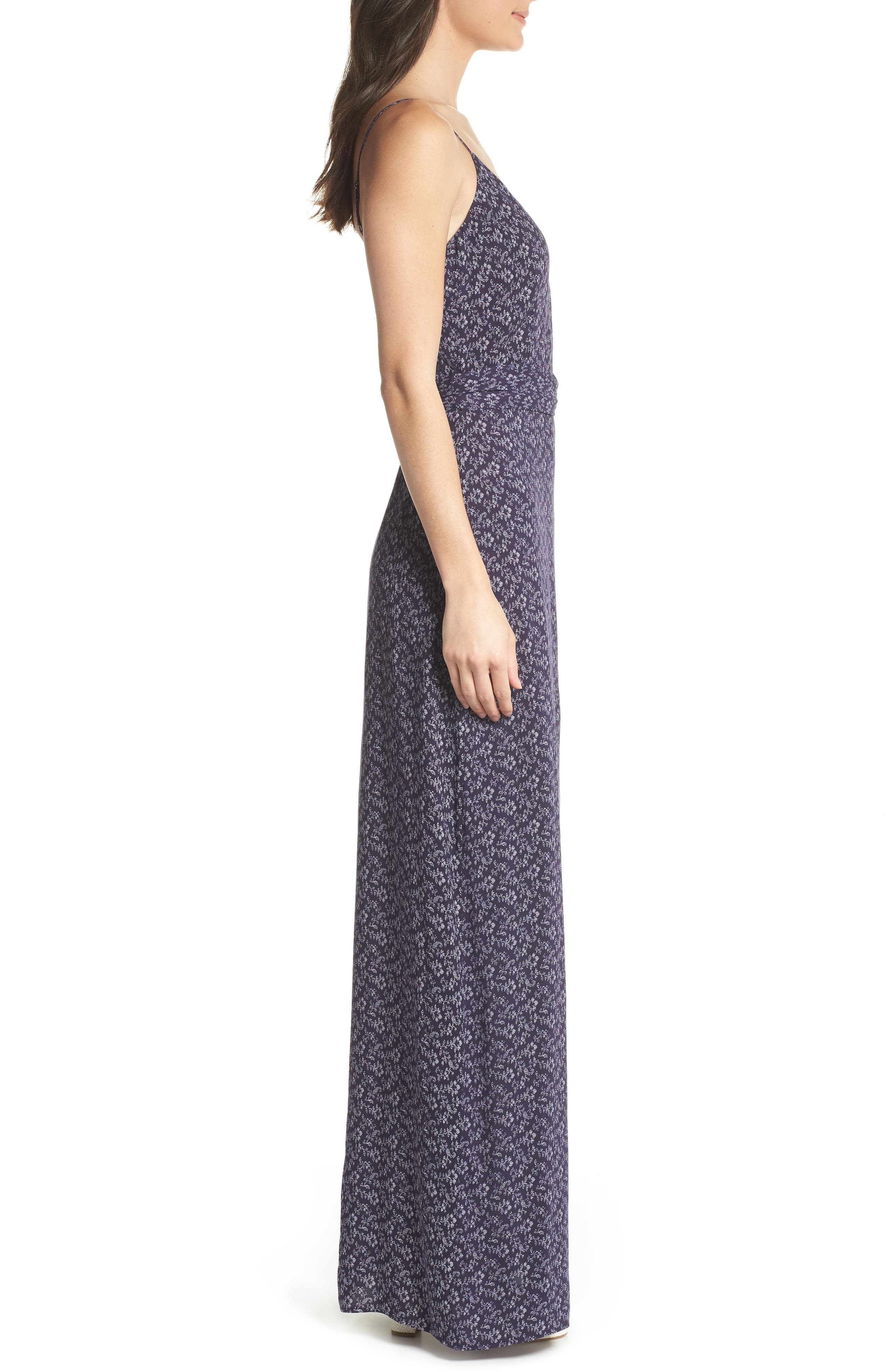 Regina Floral Print Maxi Dress,                             Alternate thumbnail 3, color,                             400