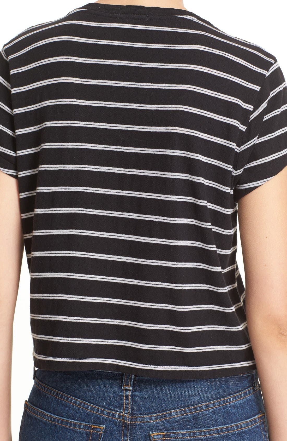 'Originals' Stripe Boxy Cotton Tee,                             Alternate thumbnail 5, color,                             001