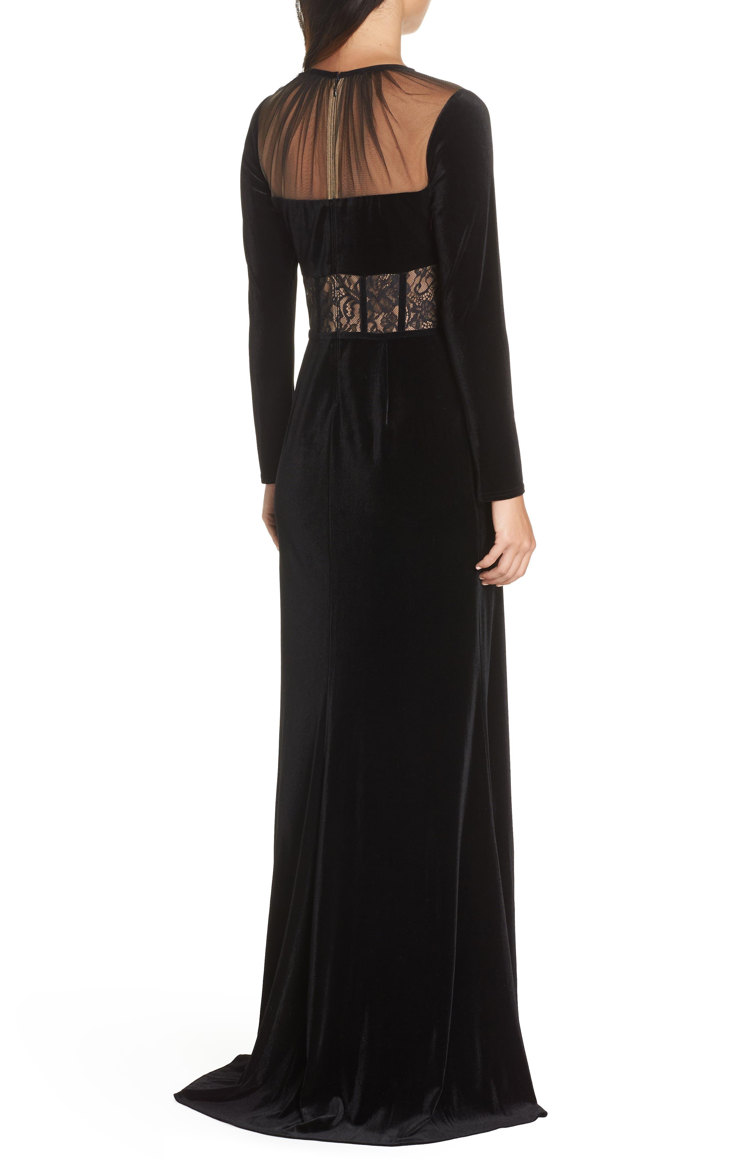 Lace & Velvet Gown,                             Alternate thumbnail 2, color,                             BLACK/ NUDE