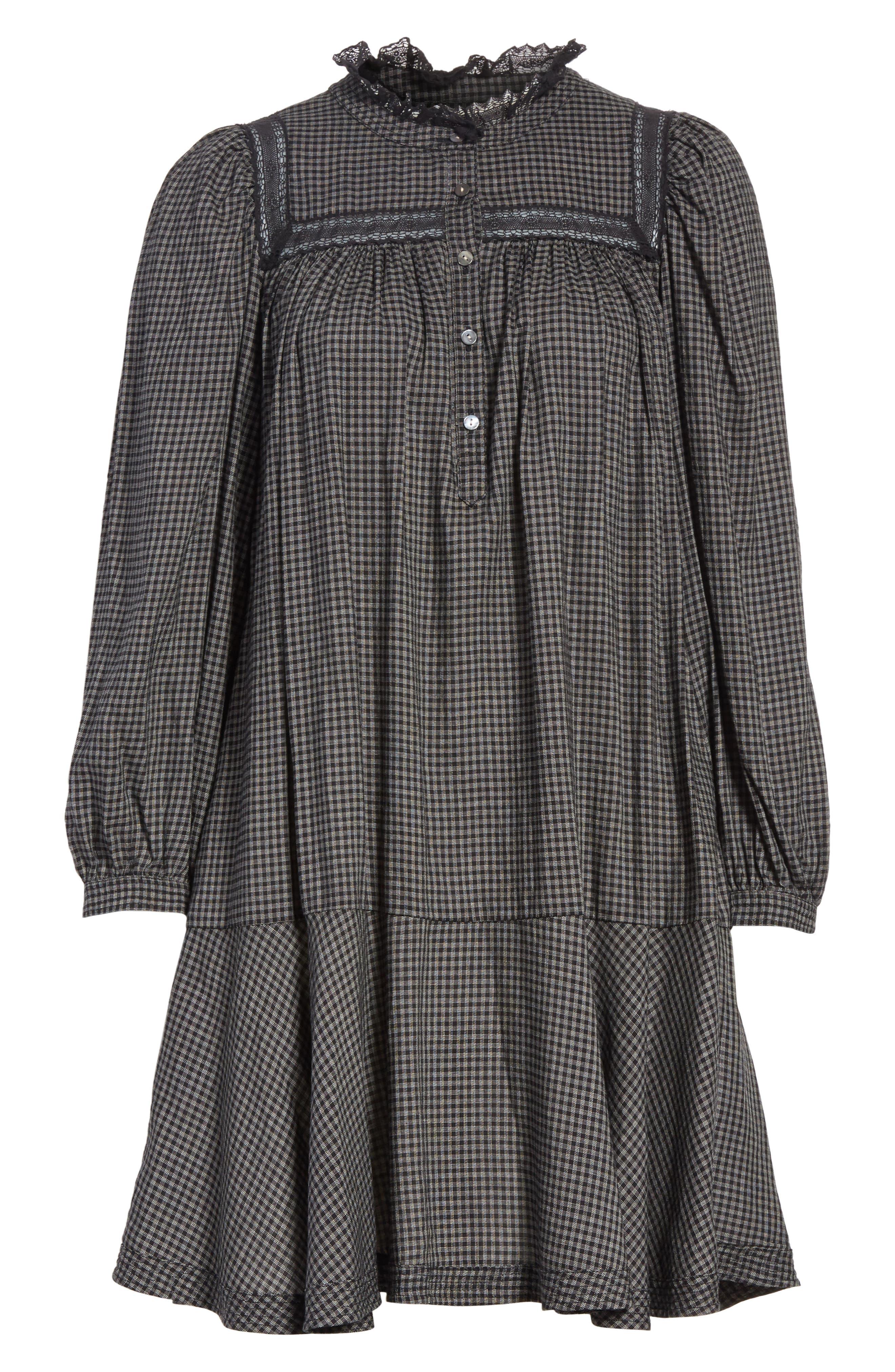 Drop Waist Plaid Dress,                             Alternate thumbnail 6, color,