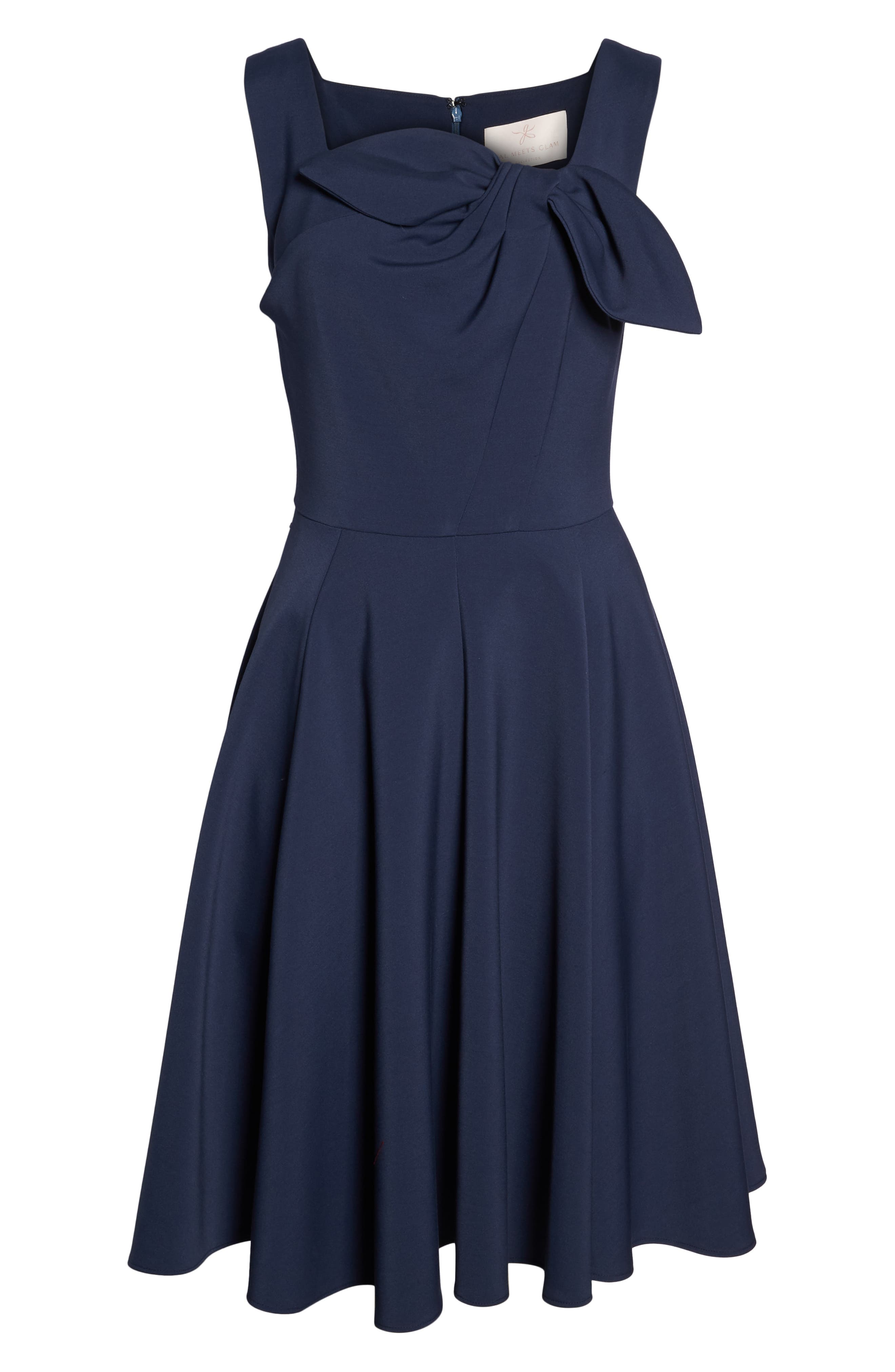 Zoe Bow Neckline Fit & Flare Dress,                             Alternate thumbnail 7, color,                             MIDNIGHT BLUE