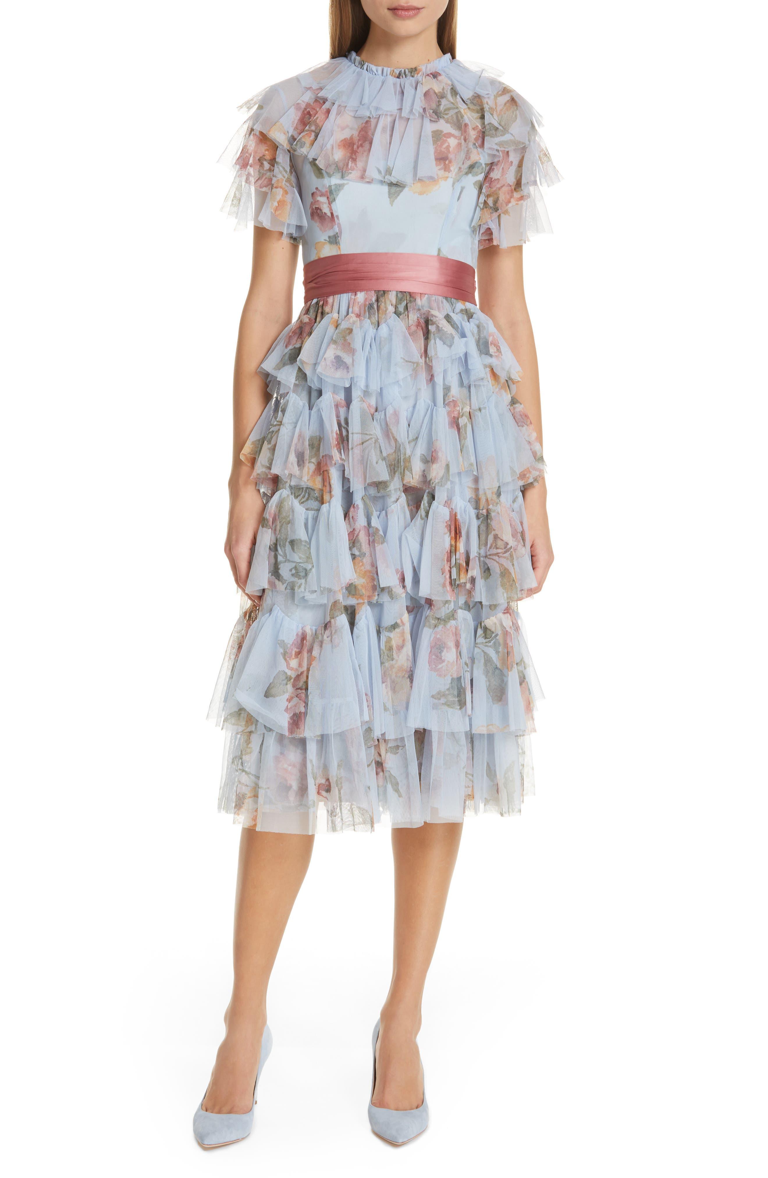 History of 1920s Day Dresses – Shop Day Dresses Womens Needle  Thread Venetian Rose Tulle Midi Dress $389.00 AT vintagedancer.com
