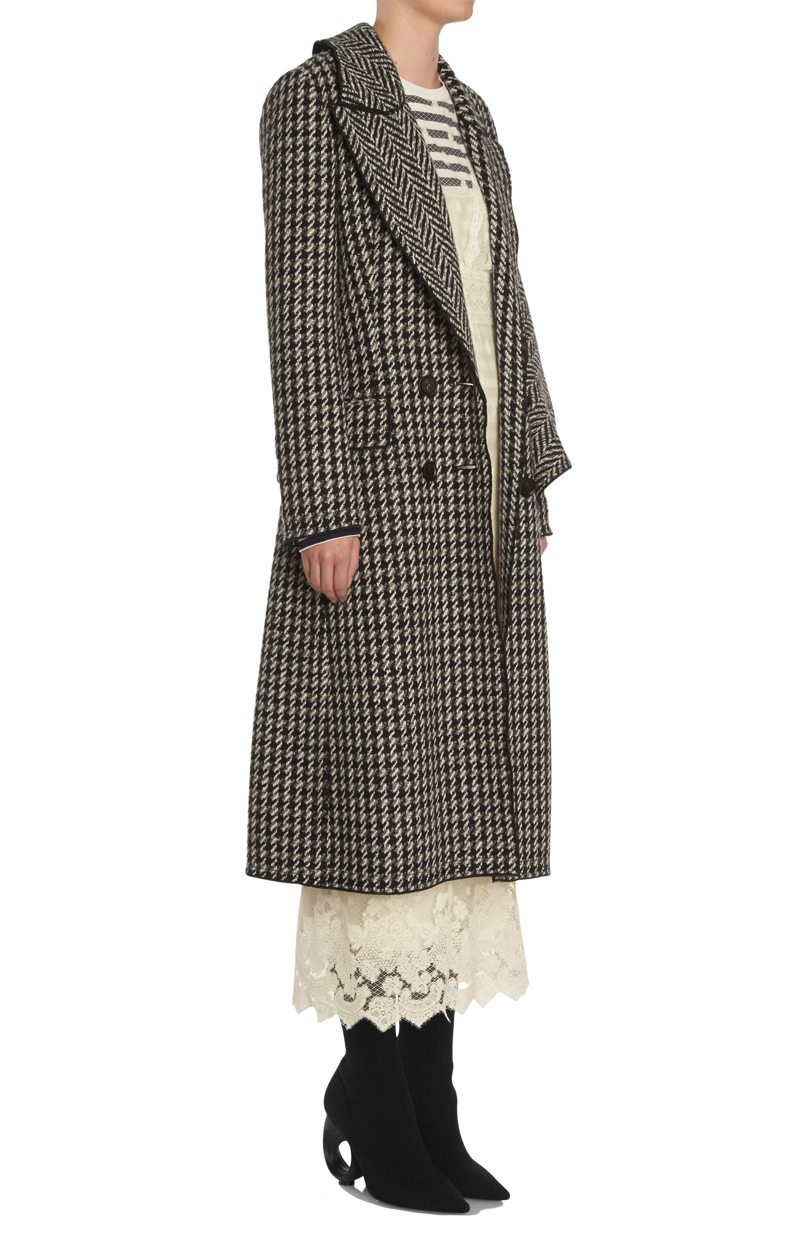 Houndstooth Wool Coat,                             Alternate thumbnail 3, color,                             001