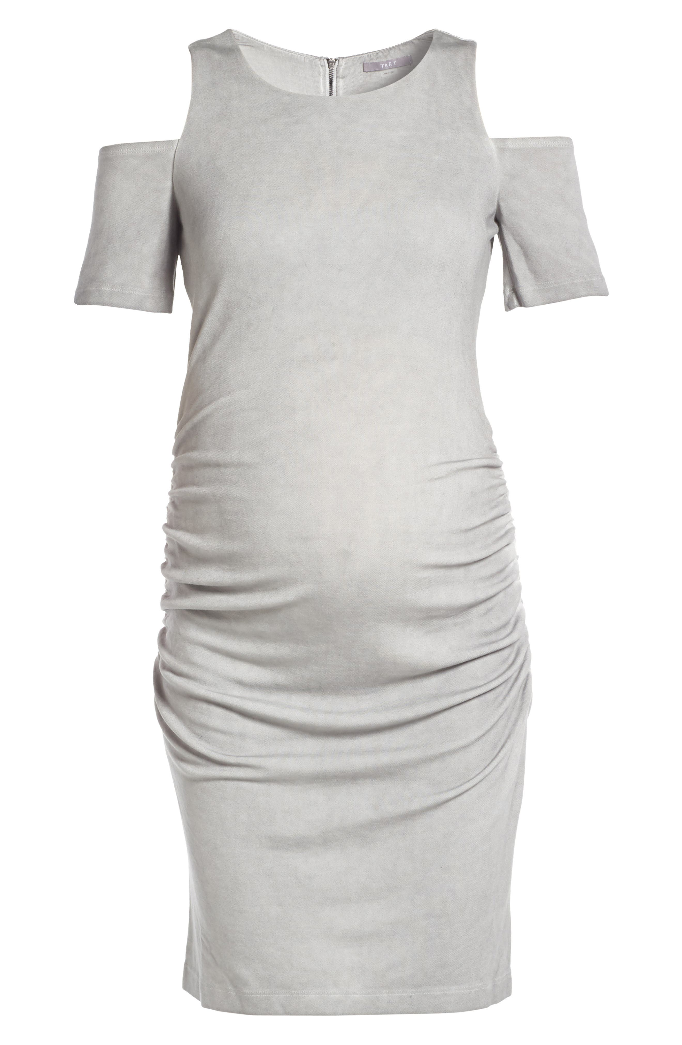 Rosie Cold Shoulder Body-Con Maternity Dress,                             Alternate thumbnail 6, color,                             007