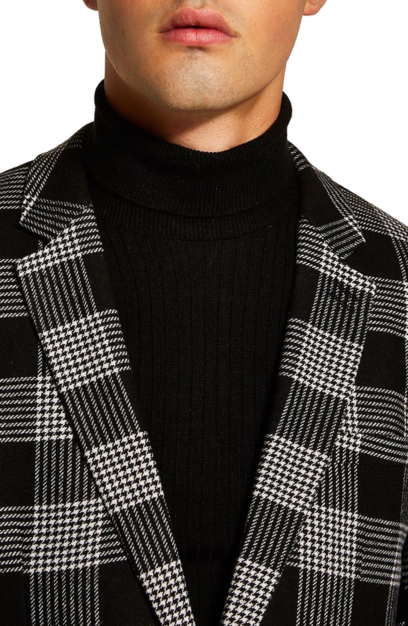 Leigh Classic Check Slim Fit Blazer,                             Alternate thumbnail 3, color,                             BLACK MULTI