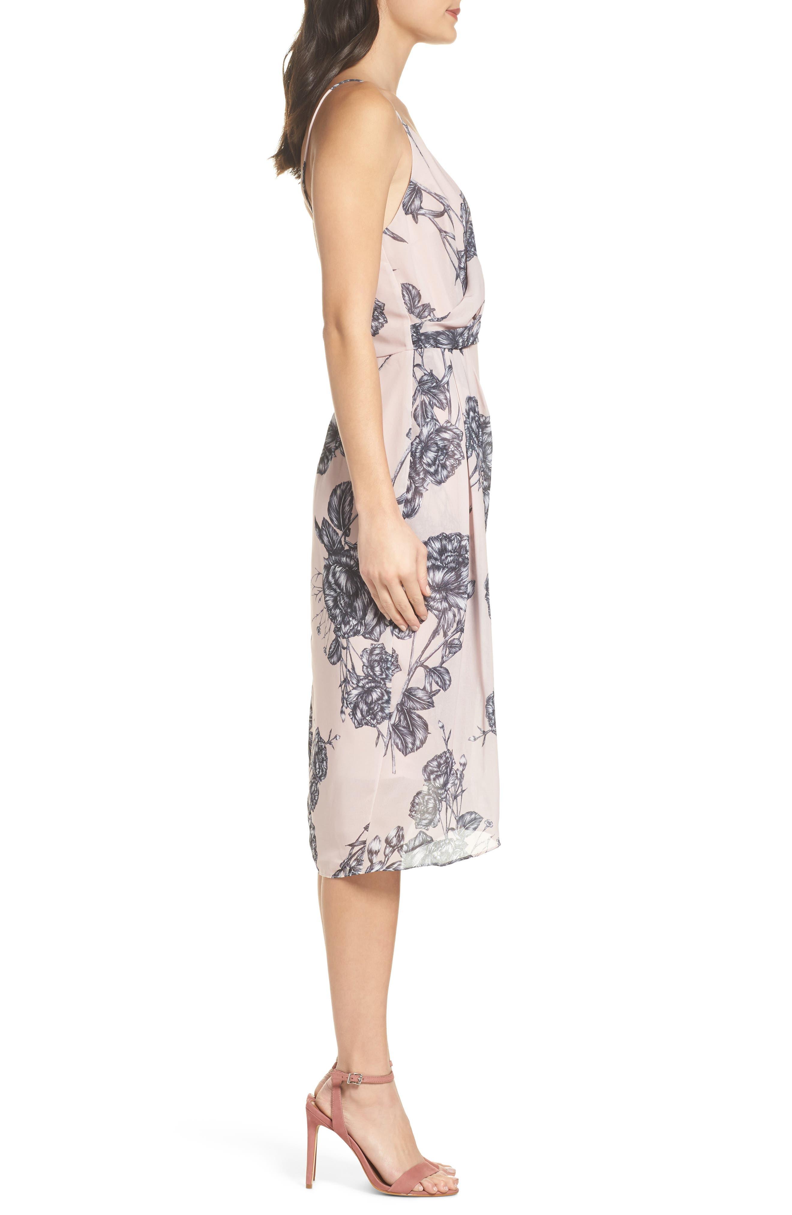 Bellini Rose Drape Dress,                             Alternate thumbnail 3, color,                             650