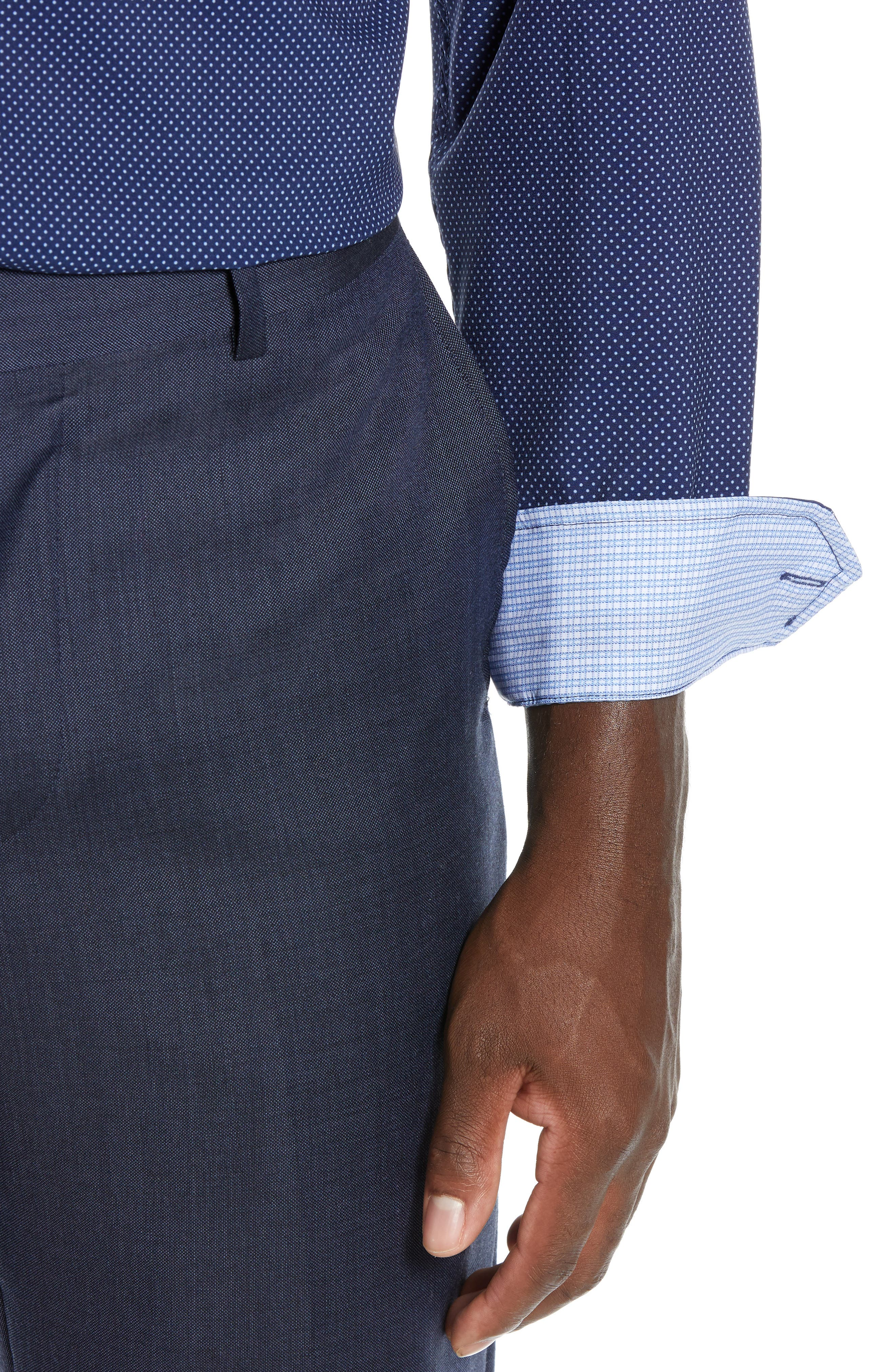 Trim Fit Stretch Dot Dress Shirt,                             Alternate thumbnail 2, color,                             NAVY