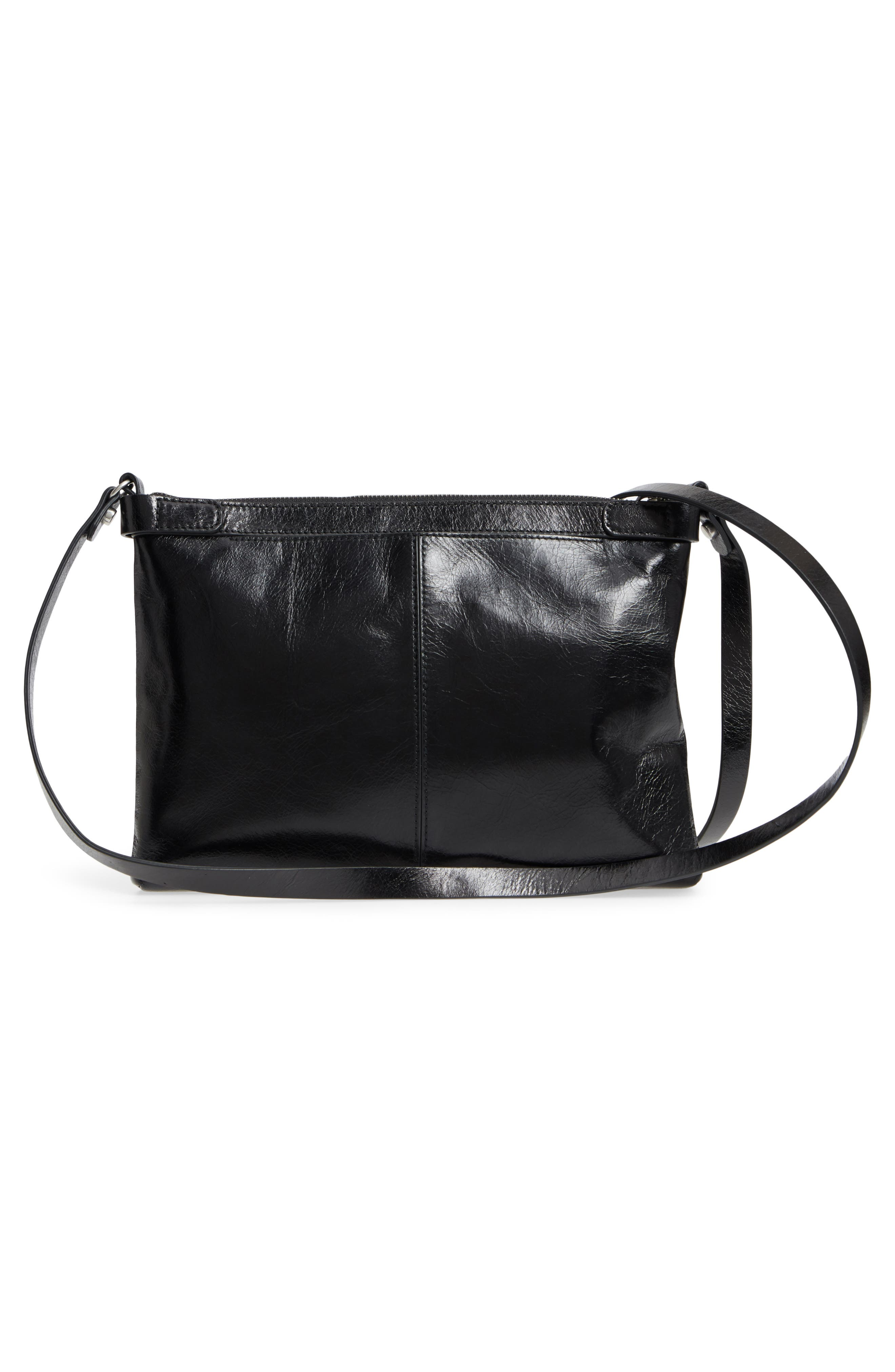 Marlow Glazed Leather Crossbody Bag,                             Alternate thumbnail 3, color,                             BLACK