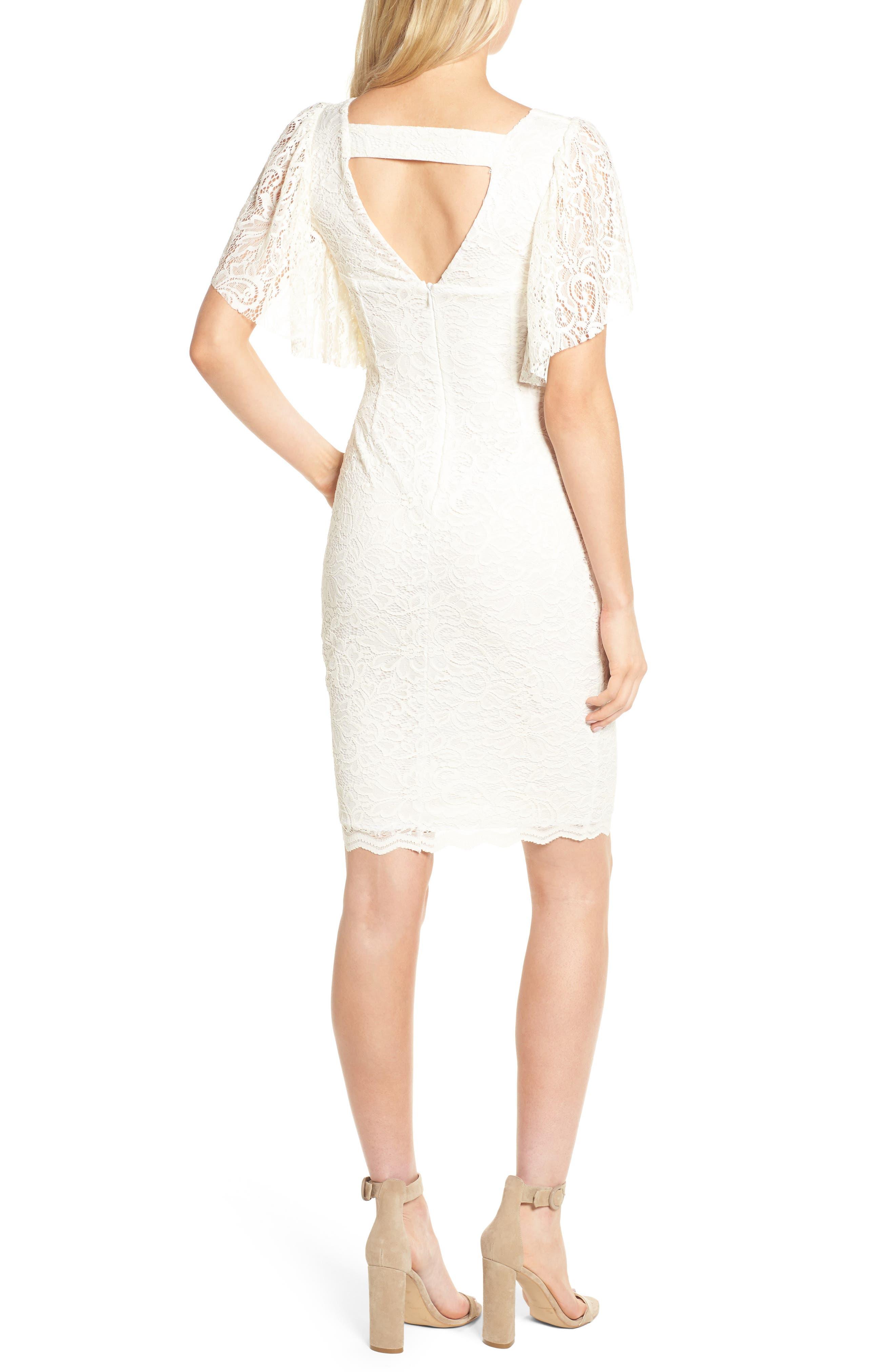 Lace Sheath Dress,                             Alternate thumbnail 2, color,                             CREAM