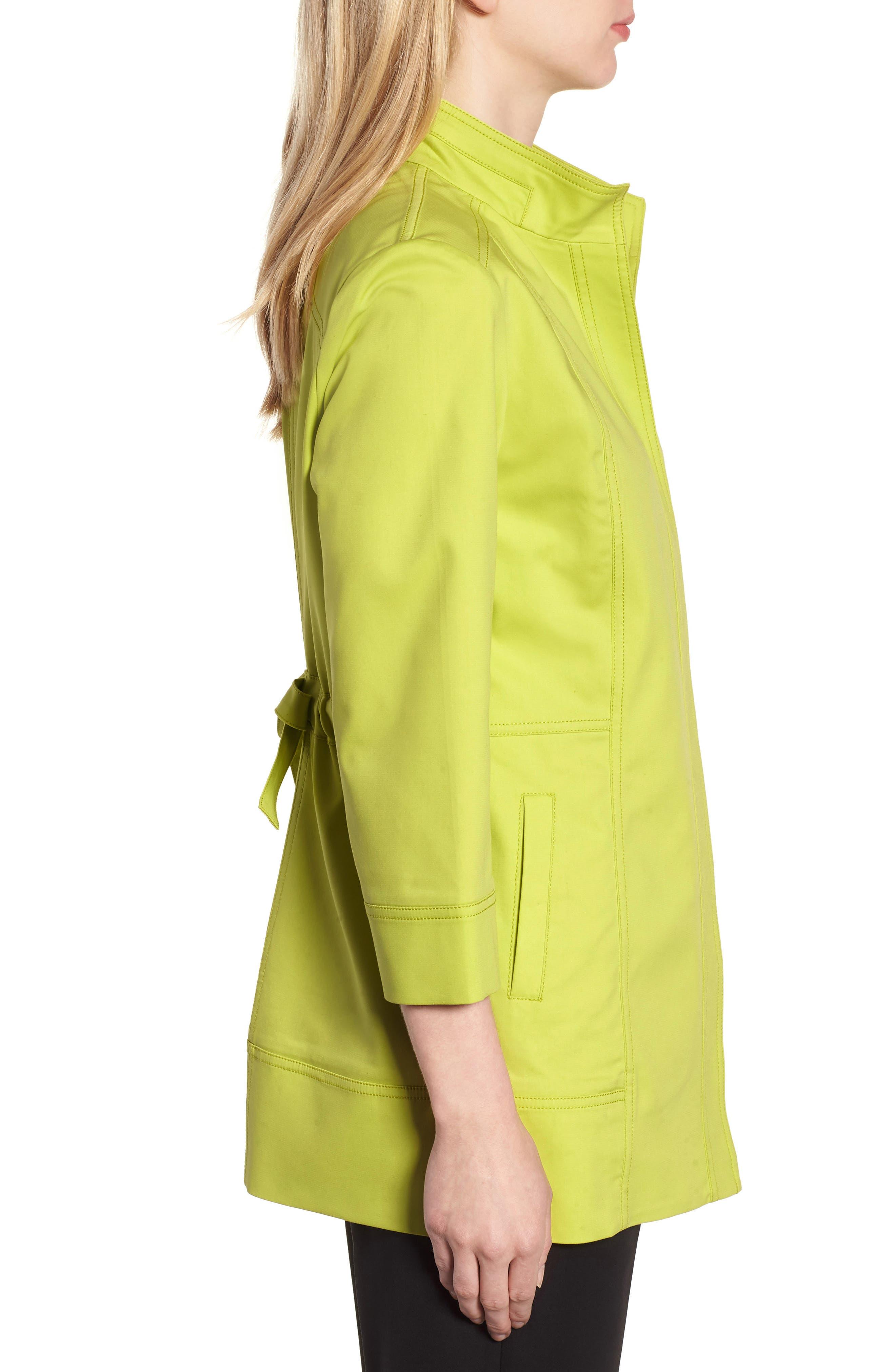 Tie Back Stretch Cotton Jacket,                             Alternate thumbnail 3, color,                             PEAR/ BLACK/ WHITE