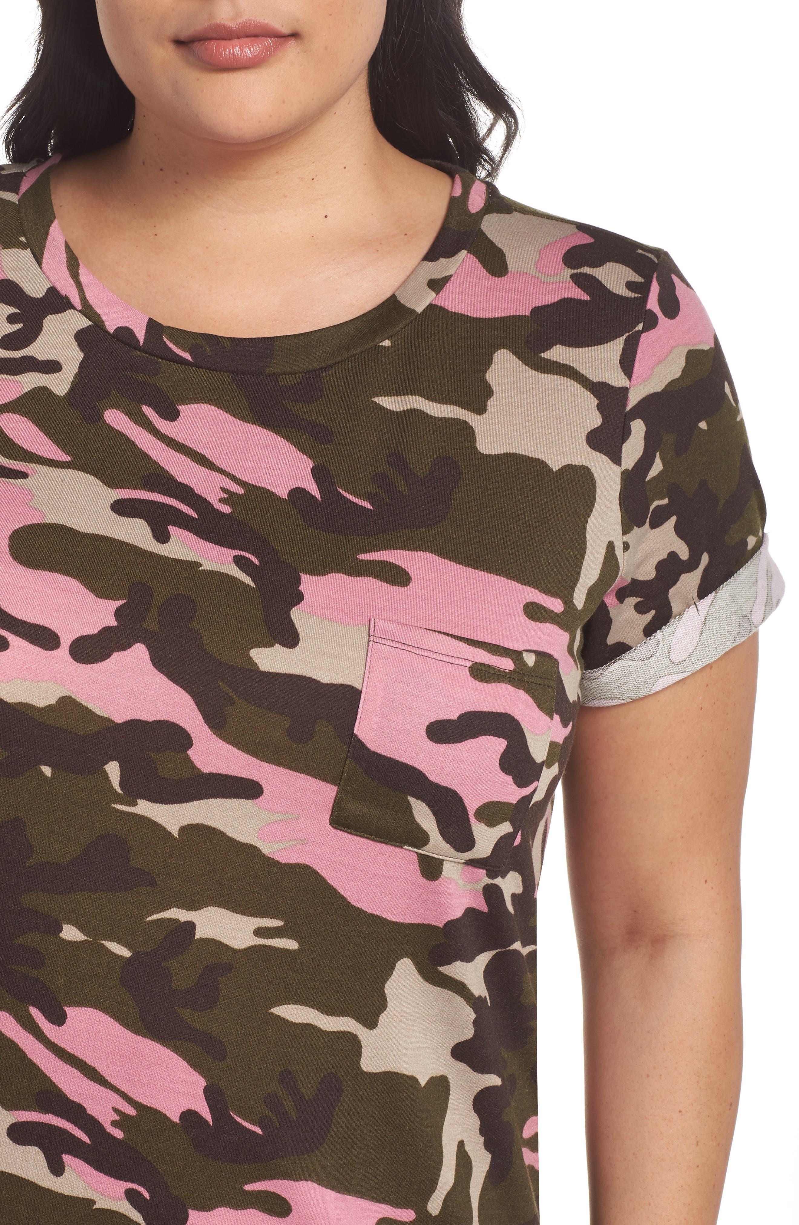 Camo T-Shirt Dress,                             Alternate thumbnail 4, color,                             PINK CAMO